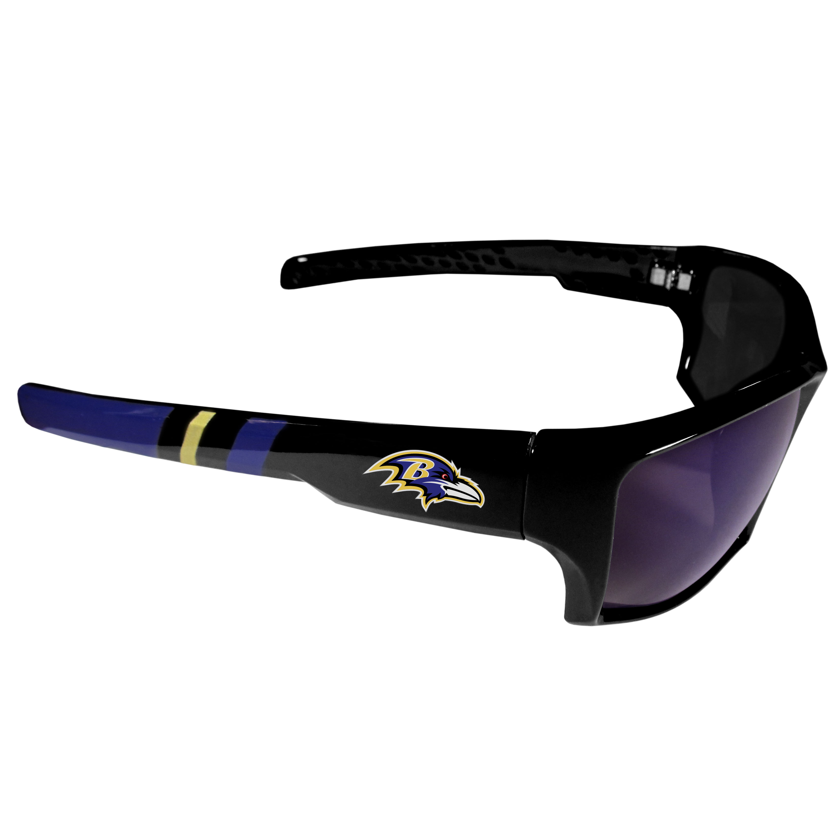 Baltimore Ravens Edge Wrap Sunglasses - Be an icon of edgy style while you're in the stadium cheering your Baltimore Ravens to victory with our polarized wrap sunglasses that feature 100% UVA/UVB rating for maximum UV protection. The light-weight frames are built to last with flex hinges for comfort and durability which make them perfect for driving or just lounging by the pool. The colorful rubber grips on the arms of these fashionable sunglasses make them perfect for someone with an active lifestyle. Whether you are hiking, fishing, boating, running on the beach, golfing or playing your favorite sport these designer frames will set you apart. Our edge wrap sunglasses are true quality eyewear at an affordable price. The wrap style frames come with team colored stripes and team logos so you can show off your die-hard team pride while protecting your eyes from those bright sun rays.