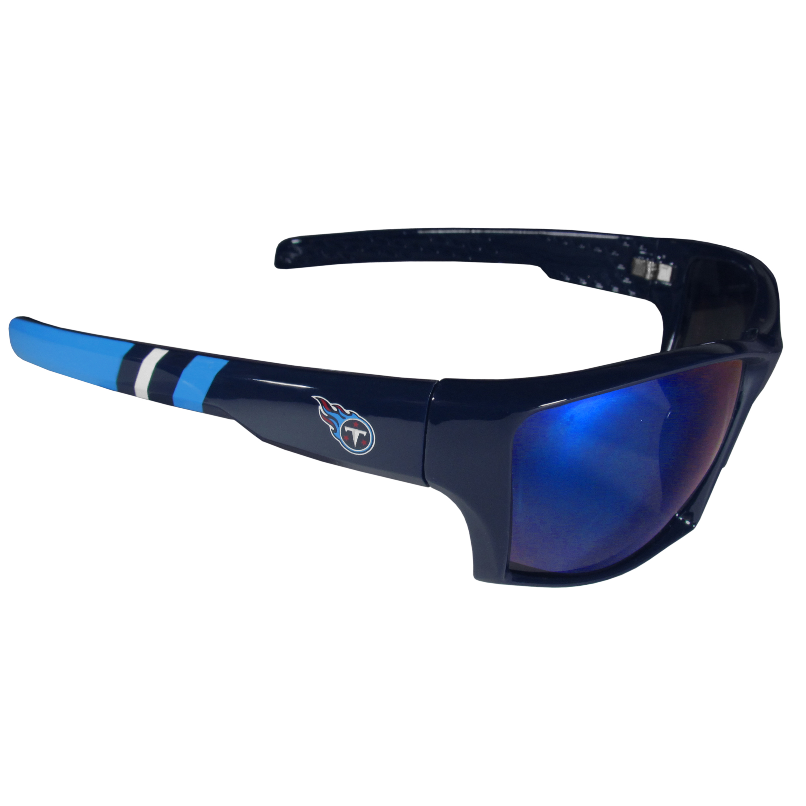 Tennessee Titans Edge Wrap Sunglasses - Be an icon of edgy style while you're in the stadium cheering your Tennessee Titans to victory with our polarized wrap sunglasses that feature 100% UVA/UVB rating for maximum UV protection. The light-weight frames are built to last with flex hinges for comfort and durability which make them perfect for driving or just lounging by the pool. The colorful rubber grips on the arms of these fashionable sunglasses make them perfect for someone with an active lifestyle. Whether you are hiking, fishing, boating, running on the beach, golfing or playing your favorite sport these designer frames will set you apart. Our edge wrap sunglasses are true quality eyewear at an affordable price. The wrap style frames come with team colored stripes and team logos so you can show off your die-hard team pride while protecting your eyes from those bright sun rays.