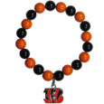 Cincinnati Bengals Fan Bead Bracelet - These bright bracelets stretch to fit and feature a full metal Cincinatti Bengals team charm with enameled details. Perfect, eye catching game day accessory. Officially licensed NFL product Licensee: Siskiyou Buckle .com
