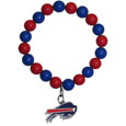 Buffalo Bills Fan Bead Bracelet - These bright bracelets stretch to fit and feature a full metal Buffalo Bills team charm with enameled details. Perfect, eye catching game day accessory. Officially licensed NFL product Licensee: Siskiyou Buckle .com