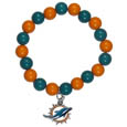 Miami Dolphins Fan Bead Bracelet - Flash your Miami Dolphins spirit with this bright stretch bracelet. This new bracelet features multicolored team beads on stretch cord with a nickel-free enameled chrome team charm. This bracelet adds the perfect pop of color to your game day accessories. Officially licensed NFL product Licensee: Siskiyou Buckle .com