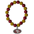 San Francisco 49ers Fan Bead Bracelet - Flash your San Francisco 49ers spirit with this bright stretch bracelet. This new bracelet features multicolored team beads on stretch cord with a nickel-free enameled chrome team charm. This bracelet adds the perfect pop of color to your game day accessories. Officially licensed NFL product Licensee: Siskiyou Buckle .com