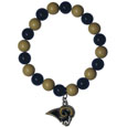 St. Louis Rams Fan Bead Bracelet - These bright bracelets stretch to fit and feature a full metal St. Louis Rams team charm with enameled details. Perfect, eye catching game day accessory. Officially licensed NFL product Licensee: Siskiyou Buckle .com