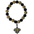 New Orleans Saints Fan Bead Bracelet - These bright bracelets stretch to fit and feature a full metal team charm with enameled details. Perfect, eye catching game day accessory. Officially licensed NFL product Licensee: Siskiyou Buckle .com