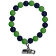 Seattle Seahawks Fan Bead Bracelet - These bright bracelets stretch to fit and feature a full metal Seattle Seahawks team charm with enameled details. Perfect, eye catching game day accessory. Officially licensed NFL product Licensee: Siskiyou Buckle .com