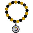 Pittsburgh Steelers Fan Bead Bracelet - These bright bracelets stretch to fit and feature a full metal team charm with enameled details. Perfect, eye catching game day accessory. Officially licensed NFL product Licensee: Siskiyou Buckle .com