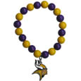 Minnesota Vikings Fan Bead Bracelet - These bright bracelets stretch to fit and feature a full metal team charm with enameled details. Perfect, eye catching game day accessory. Officially licensed NFL product Licensee: Siskiyou Buckle .com