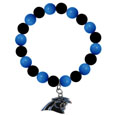 Carolina Panthers Fan Bead Bracelet - These bright bracelets stretch to fit and feature a full metal Carolina Panthers team charm with enameled details. Perfect, eye catching game day accessory. Officially licensed NFL product Licensee: Siskiyou Buckle .com