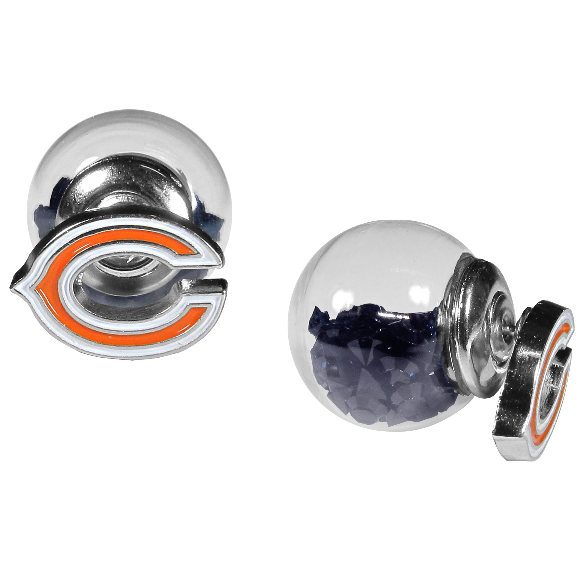 Chicago Bears Front/Back Earrings - Get in on one of the most popular trends in jewelry, front and back earrings! This must-have style is all of over the red carpets and we taken this contemporary look and paired it with your love of the Chicago Bears! The front of the earring is a sporty team logo and the back of these eye-catching earrings is a glass ball filled with colored crystal beads. This piece is perfect for a fashion-forward fan, with bold taste and trend-setting style.