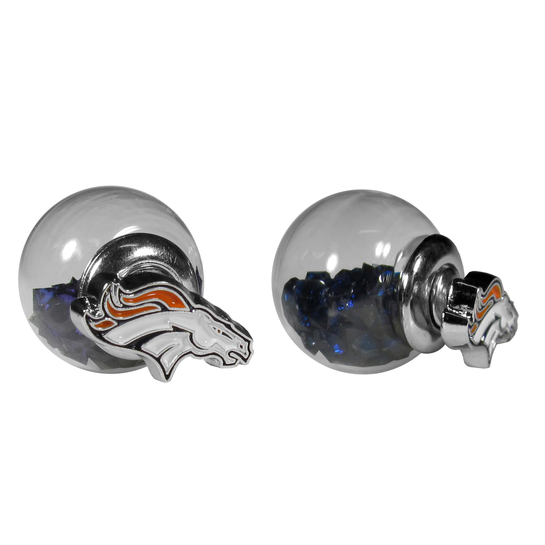 Denver Broncos Front/Back Earrings - Get in on one of the most popular trends in jewelry, front and back earrings! This must-have style is all of over the red carpets and we taken this contemporary look and paired it with your love of the Denver Broncos! The front of the earring is a sporty team logo and the back of these eye-catching earrings is a glass ball filled with colored crystal beads. This piece is perfect for a fashion-forward fan, with bold taste and trend-setting style.