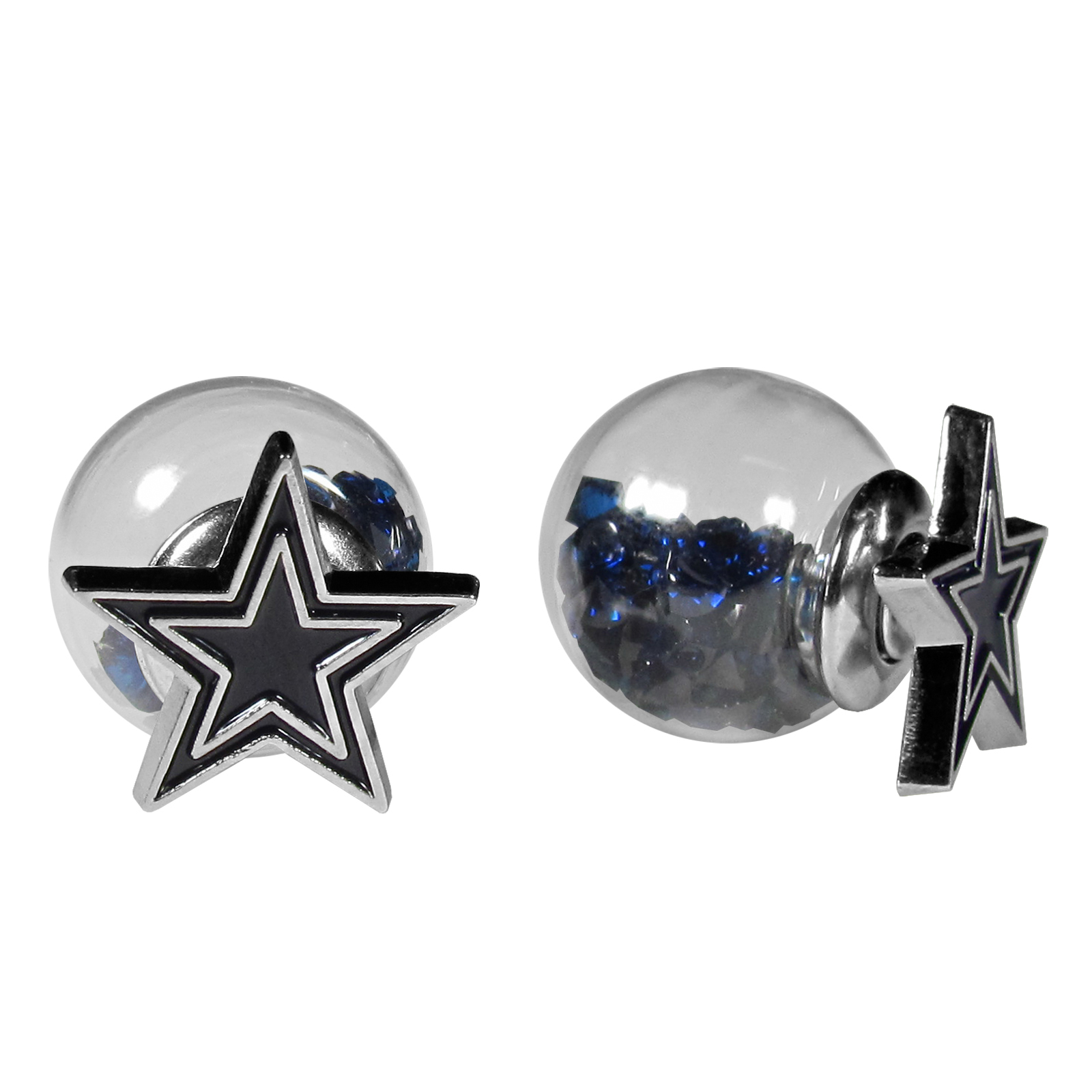 Dallas Cowboys Front/Back Earrings - Get in on one of the most popular trends in jewelry, front and back earrings! This must-have style is all of over the red carpets and we taken this contemporary look and paired it with your love of the Dallas Cowboys! The front of the earring is a sporty team logo and the back of these eye-catching earrings is a glass ball filled with colored crystal beads. This piece is perfect for a fashion-forward fan, with bold taste and trend-setting style.