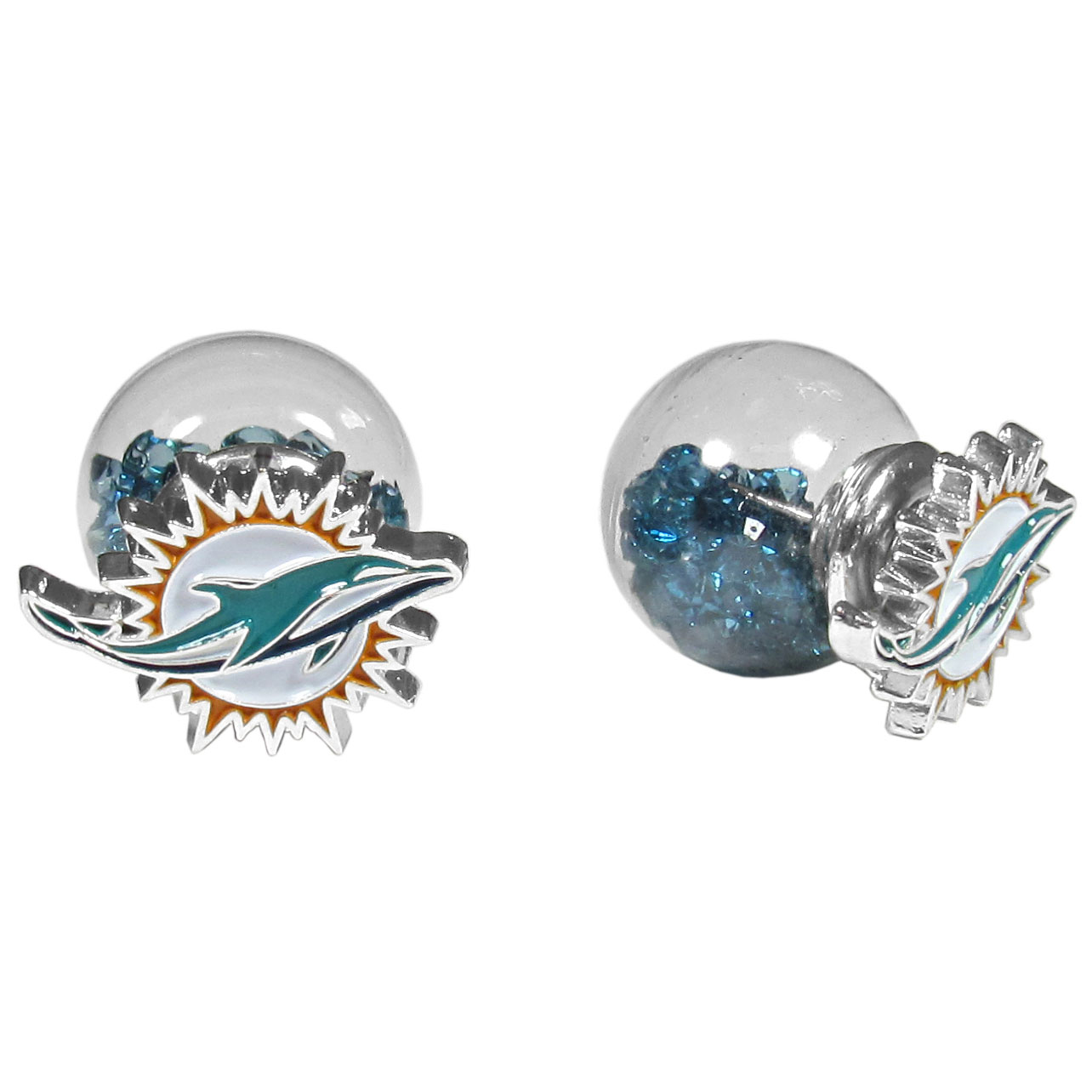 Miami Dolphins Front/Back Earrings - Get in on one of the most popular trends in jewelry, front and back earrings! This must-have style is all of over the red carpets and we taken this contemporary look and paired it with your love of the Miami Dolphins! The front of the earring is a sporty team logo and the back of these eye-catching earrings is a glass ball filled with colored crystal beads. This piece is perfect for a fashion-forward fan, with bold taste and trend-setting style.