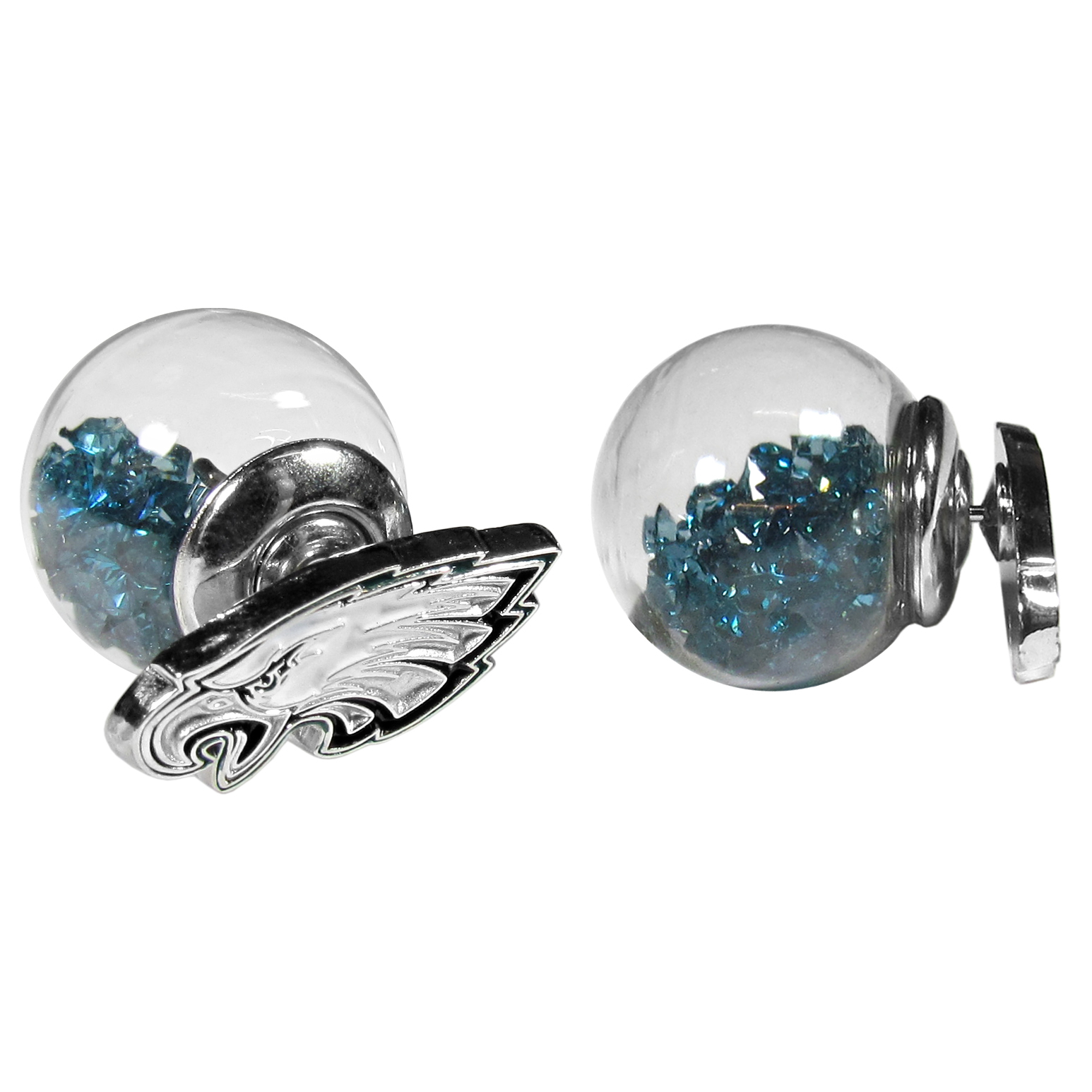 Philadelphia Eagles Front/Back Earrings - Get in on one of the most popular trends in jewelry, front and back earrings! This must-have style is all of over the red carpets and we taken this contemporary look and paired it with your love of the Philadelphia Eagles! The front of the earring is a sporty team logo and the back of these eye-catching earrings is a glass ball filled with colored crystal beads. This piece is perfect for a fashion-forward fan, with bold taste and trend-setting style.