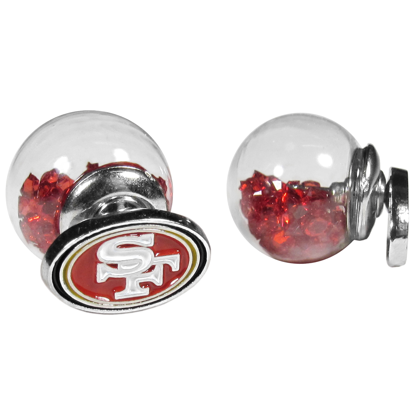 San Francisco 49ers Front/Back Earrings - Get in on one of the most popular trends in jewelry, front and back earrings! This must-have style is all of over the red carpets and we taken this contemporary look and paired it with your love of the San Francisco 49ers! The front of the earring is a sporty team logo and the back of these eye-catching earrings is a glass ball filled with colored crystal beads. This piece is perfect for a fashion-forward fan, with bold taste and trend-setting style.