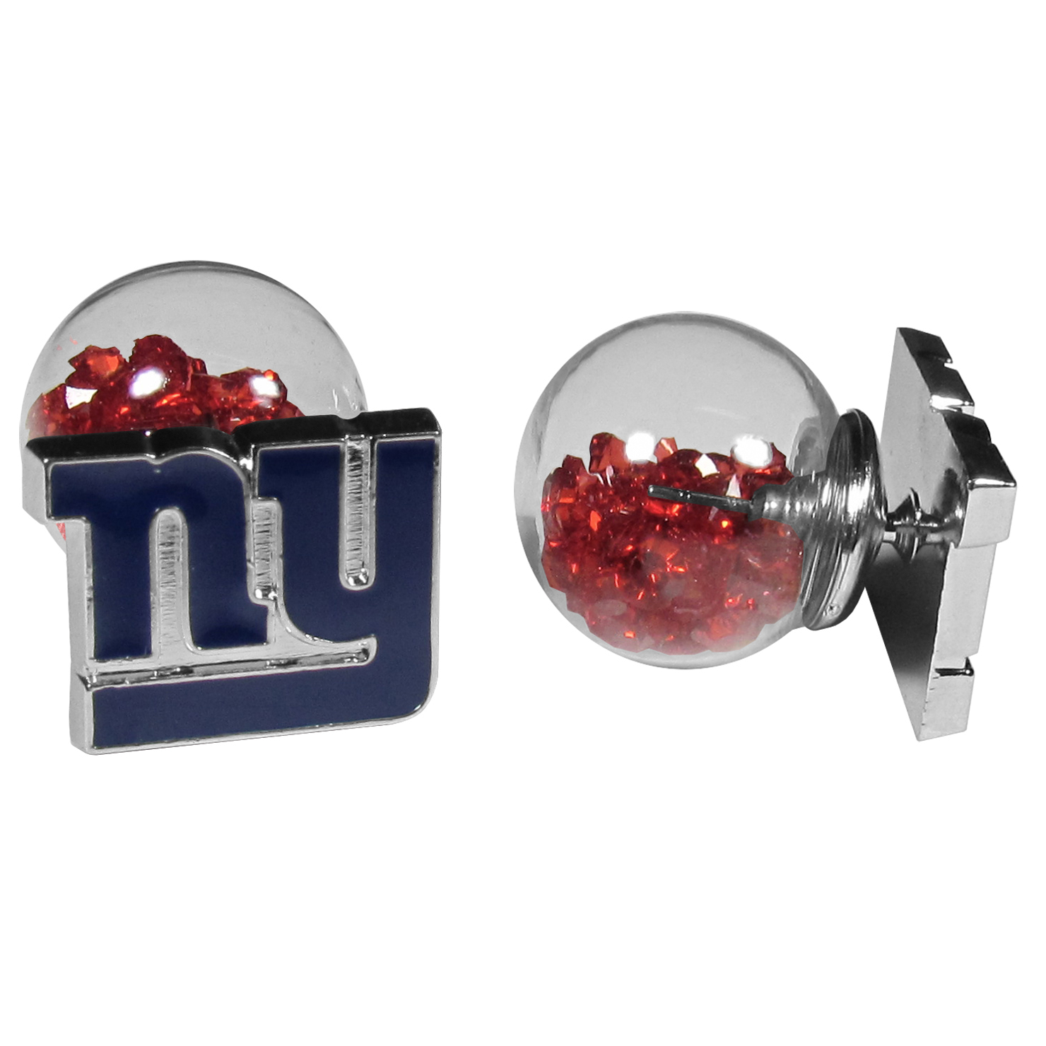 New York Giants Front/Back Earrings - Get in on one of the most popular trends in jewelry, front and back earrings! This must-have style is all of over the red carpets and we taken this contemporary look and paired it with your love of the New York Giants! The front of the earring is a sporty team logo and the back of these eye-catching earrings is a glass ball filled with colored crystal beads. This piece is perfect for a fashion-forward fan, with bold taste and trend-setting style.