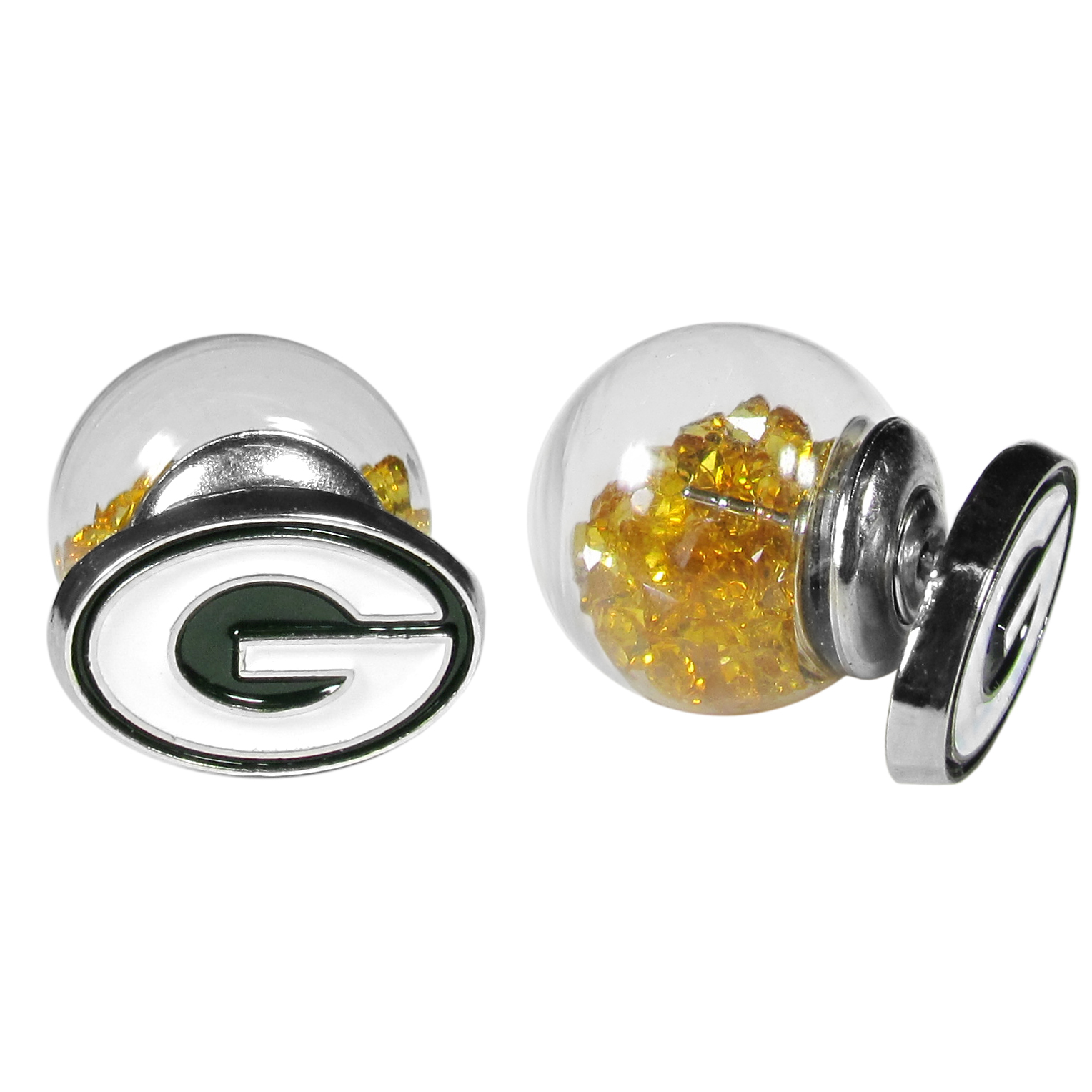 Green Bay Packers Front/Back Earrings - Get in on one of the most popular trends in jewelry, front and back earrings! This must-have style is all of over the red carpets and we taken this contemporary look and paired it with your love of the Green Bay Packers! The front of the earring is a sporty team logo and the back of these eye-catching earrings is a glass ball filled with colored crystal beads. This piece is perfect for a fashion-forward fan, with bold taste and trend-setting style.