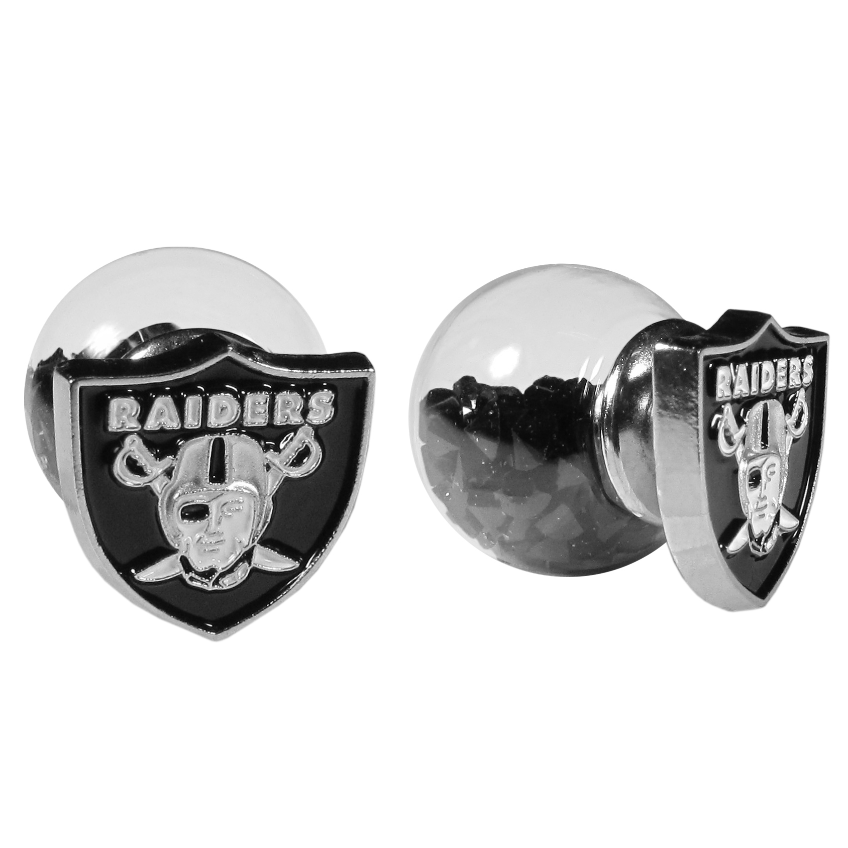 Oakland Raiders Front/Back Earrings - Get in on one of the most popular trends in jewelry, front and back earrings! This must-have style is all of over the red carpets and we taken this contemporary look and paired it with your love of the Oakland Raiders! The front of the earring is a sporty team logo and the back of these eye-catching earrings is a glass ball filled with colored crystal beads. This piece is perfect for a fashion-forward fan, with bold taste and trend-setting style.