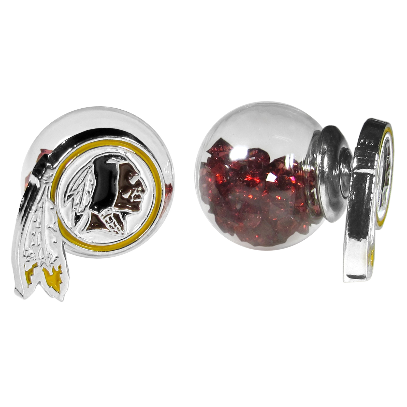 Washington Redskins Front/Back Earrings - Get in on one of the most popular trends in jewelry, front and back earrings! This must-have style is all of over the red carpets and we taken this contemporary look and paired it with your love of the Washington Redskins! The front of the earring is a sporty team logo and the back of these eye-catching earrings is a glass ball filled with colored crystal beads. This piece is perfect for a fashion-forward fan, with bold taste and trend-setting style.