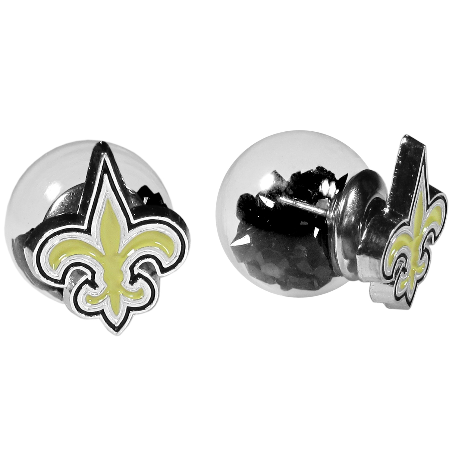 New Orleans Saints Front/Back Earrings - Get in on one of the most popular trends in jewelry, front and back earrings! This must-have style is all of over the red carpets and we taken this contemporary look and paired it with your love of the New Orleans Saints! The front of the earring is a sporty team logo and the back of these eye-catching earrings is a glass ball filled with colored crystal beads. This piece is perfect for a fashion-forward fan, with bold taste and trend-setting style.