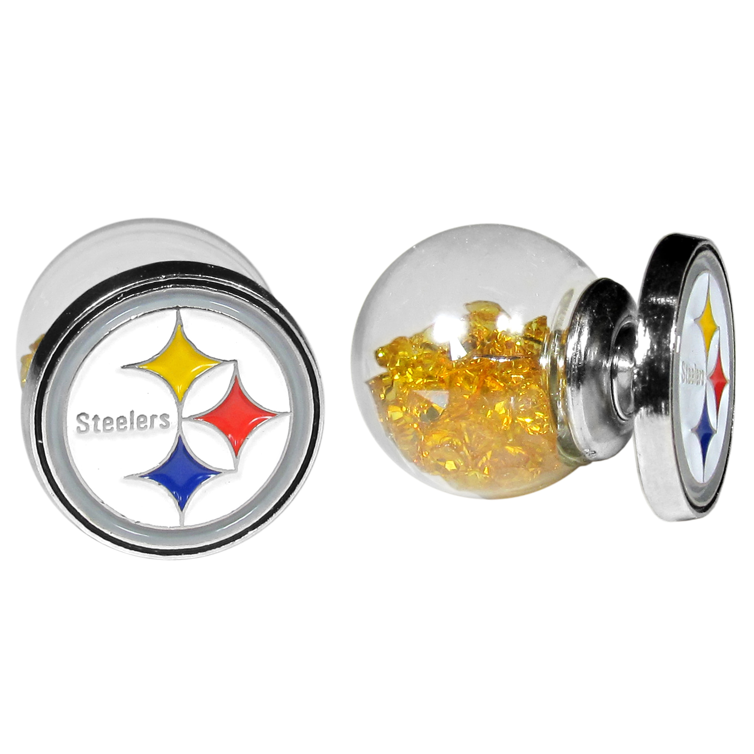 Pittsburgh Steelers Front/Back Earrings - Get in on one of the most popular trends in jewelry, front and back earrings! This must-have style is all of over the red carpets and we taken this contemporary look and paired it with your love of the Pittsburgh Steelers! The front of the earring is a sporty team logo and the back of these eye-catching earrings is a glass ball filled with colored crystal beads. This piece is perfect for a fashion-forward fan, with bold taste and trend-setting style.