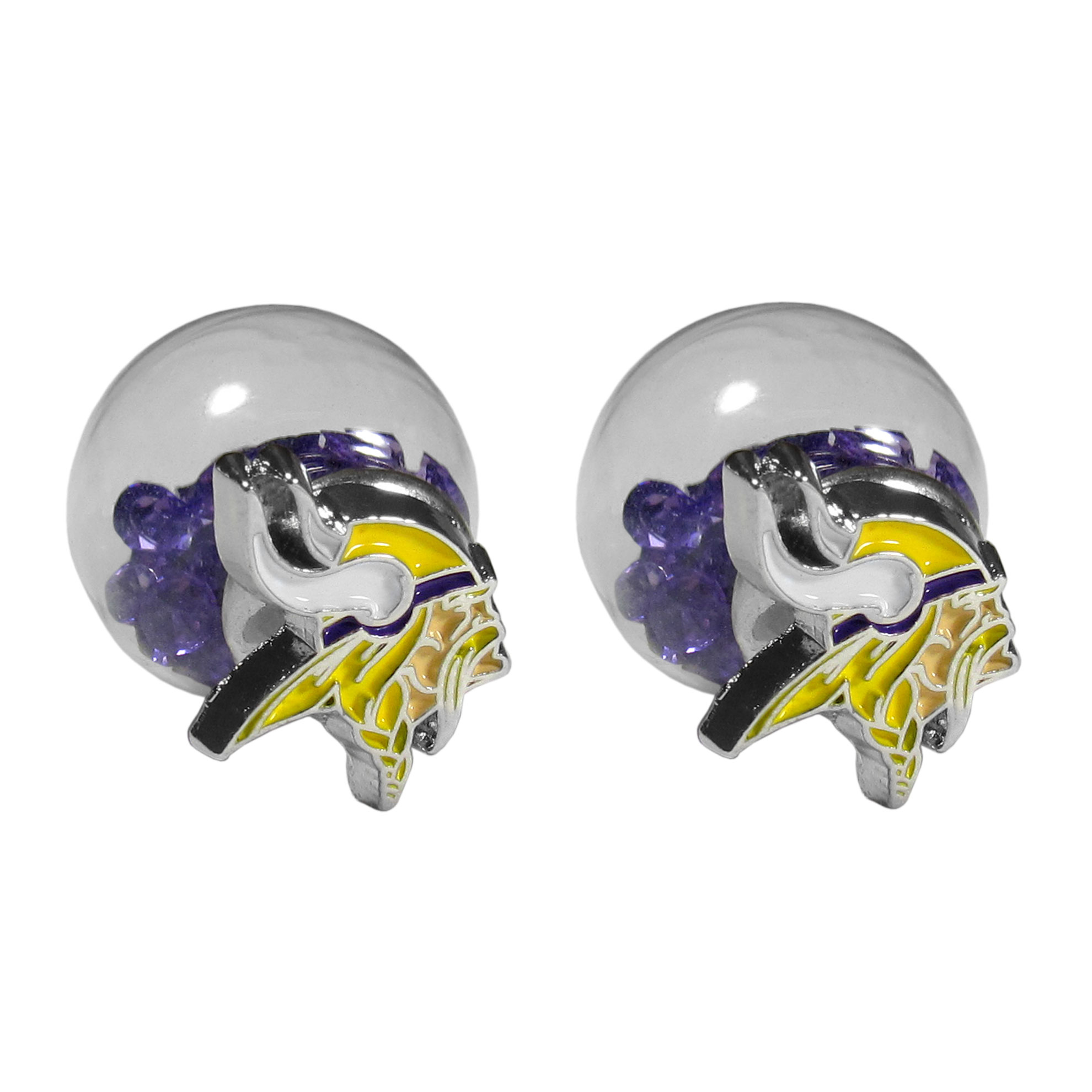 Minnesota Vikings Front/Back Earrings - Get in on one of the most popular trends in jewelry, front and back earrings! This must-have style is all of over the red carpets and we taken this contemporary look and paired it with your love of the Minnesota Vikings! The front of the earring is a sporty team logo and the back of these eye-catching earrings is a glass ball filled with colored crystal beads. This piece is perfect for a fashion-forward fan, with bold taste and trend-setting style.