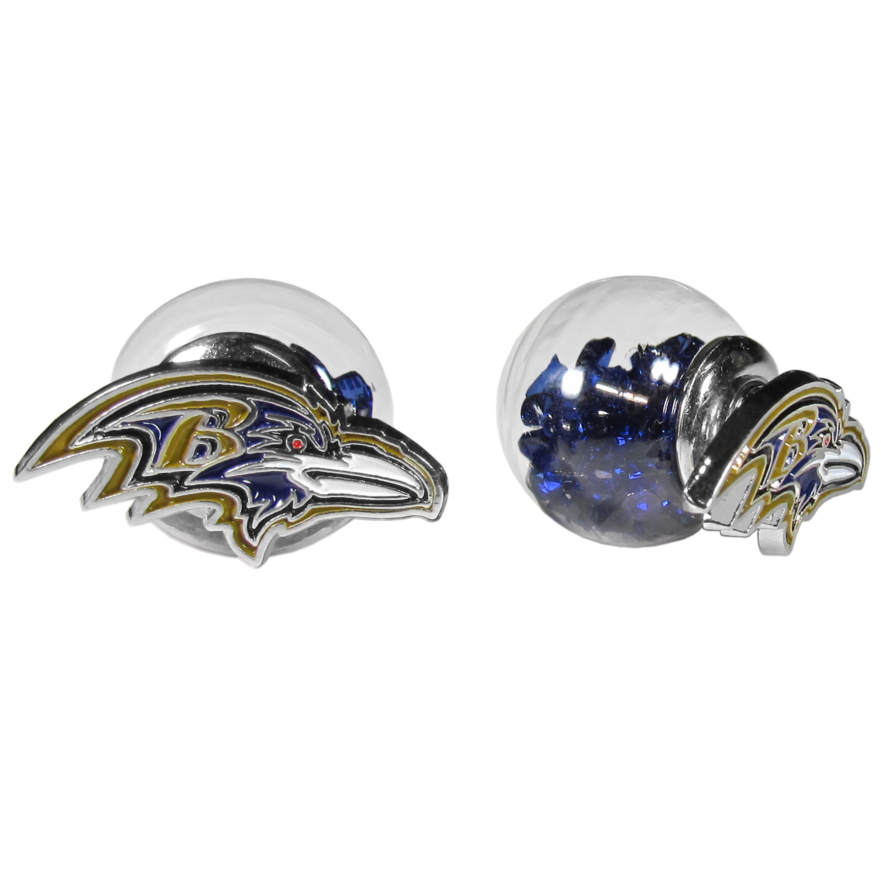 Baltimore Ravens Front/Back Earrings - Get in on one of the most popular trends in jewelry, front and back earrings! This must-have style is all of over the red carpets and we taken this contemporary look and paired it with your love of the Baltimore Ravens! The front of the earring is a sporty team logo and the back of these eye-catching earrings is a glass ball filled with colored crystal beads. This piece is perfect for a fashion-forward fan, with bold taste and trend-setting style.