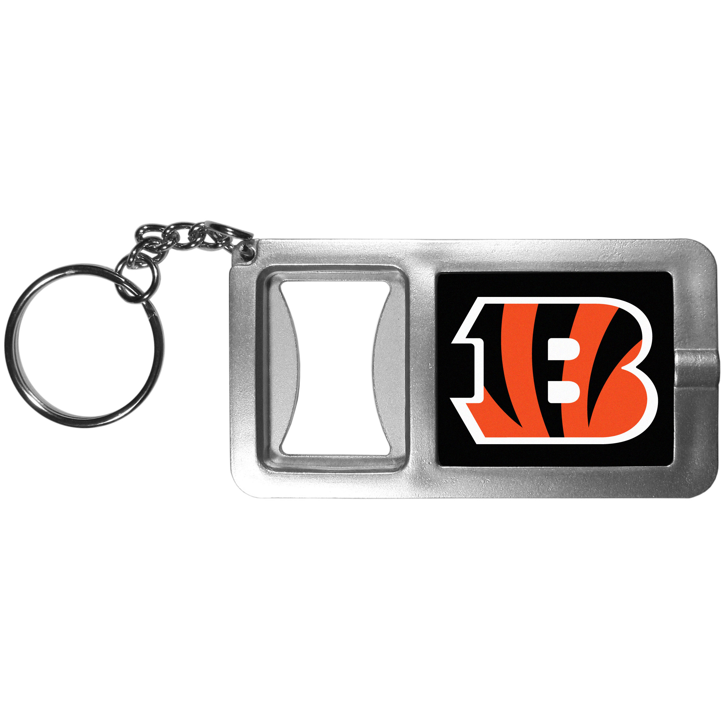 Cincinnati Bengals Flashlight Key Chain with Bottle Opener - Never be without light with our Cincinnati Bengals flashlight keychain that features a handy bottle opener feature. This versatile key chain is perfect for camping and travel and is a great way to show off your team pride!