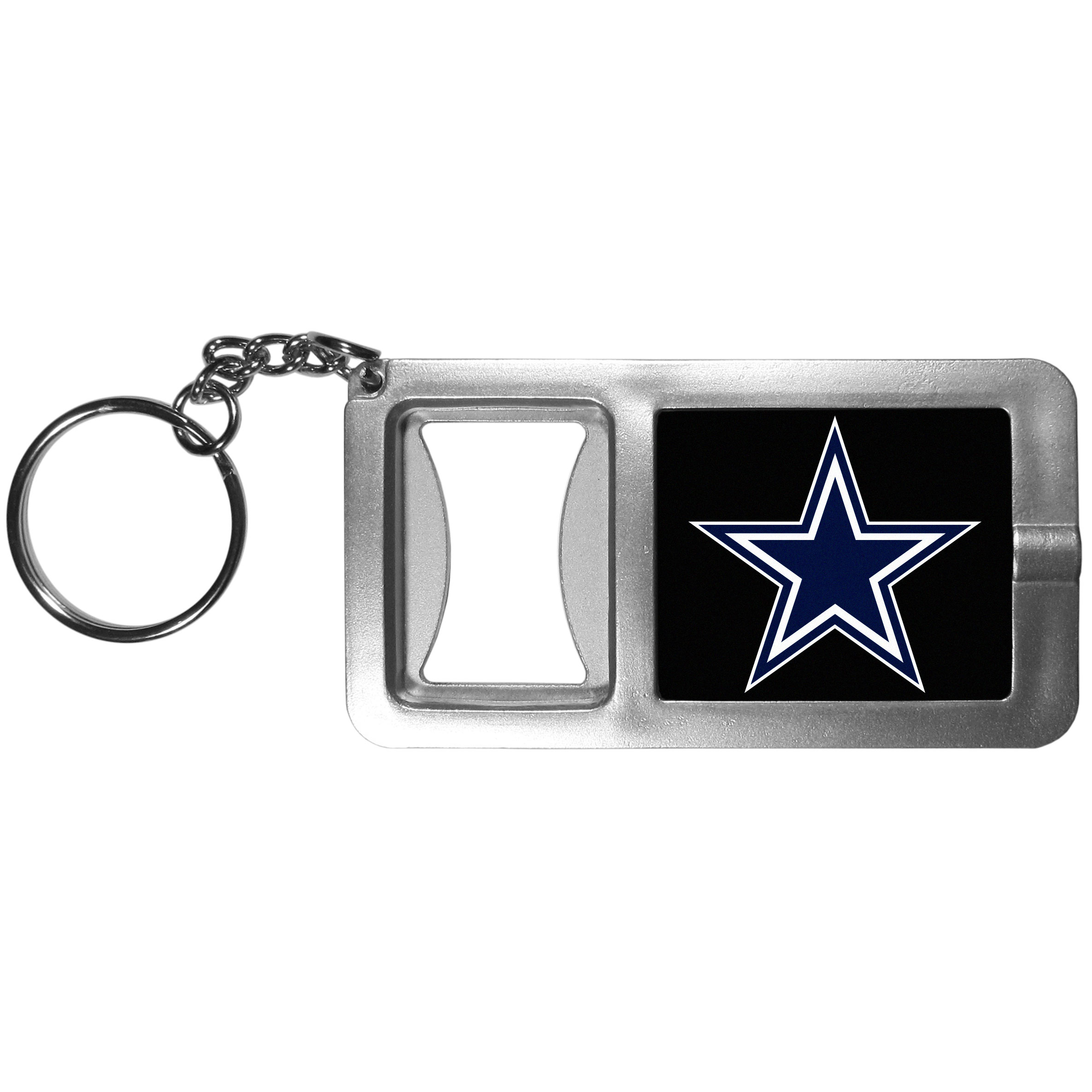 Dallas Cowboys Flashlight Key Chain with Bottle Opener - Never be without light with our Dallas Cowboys flashlight keychain that features a handy bottle opener feature. This versatile key chain is perfect for camping and travel and is a great way to show off your team pride!