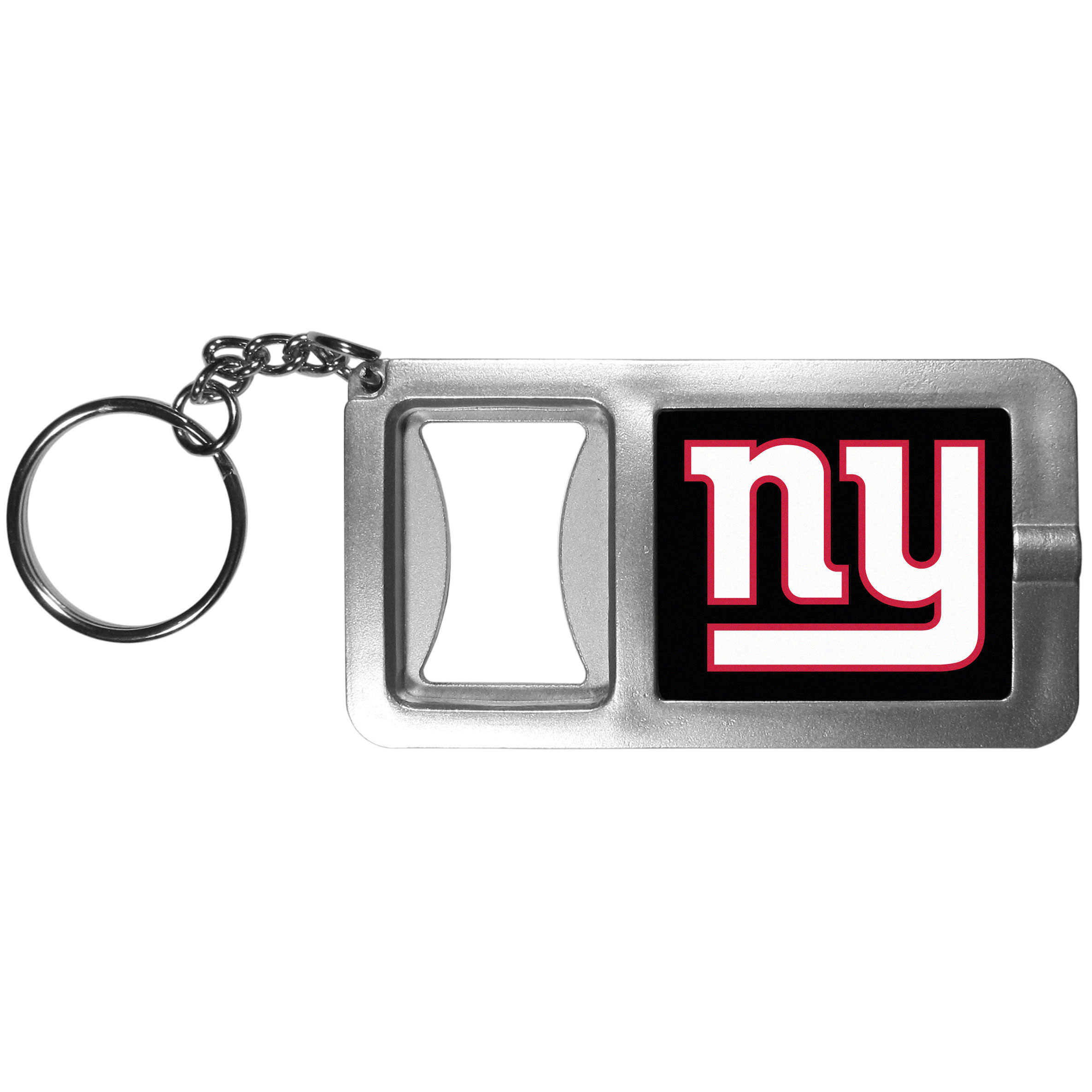 New York Giants Flashlight Key Chain with Bottle Opener - Never be without light with our New York Giants flashlight keychain that features a handy bottle opener feature. This versatile key chain is perfect for camping and travel and is a great way to show off your team pride!