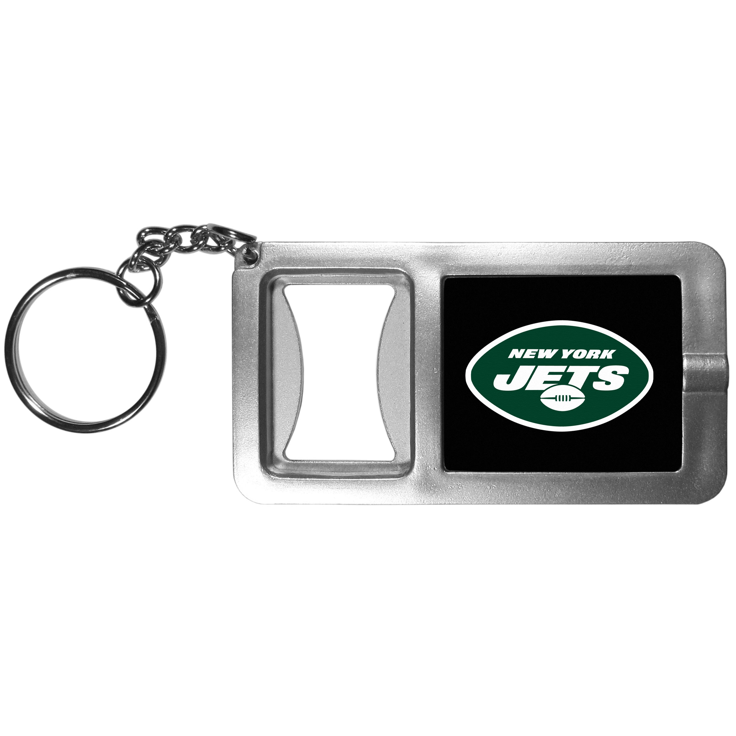 New York Jets Flashlight Key Chain with Bottle Opener - Never be without light with our New York Jets flashlight keychain that features a handy bottle opener feature. This versatile key chain is perfect for camping and travel and is a great way to show off your team pride!
