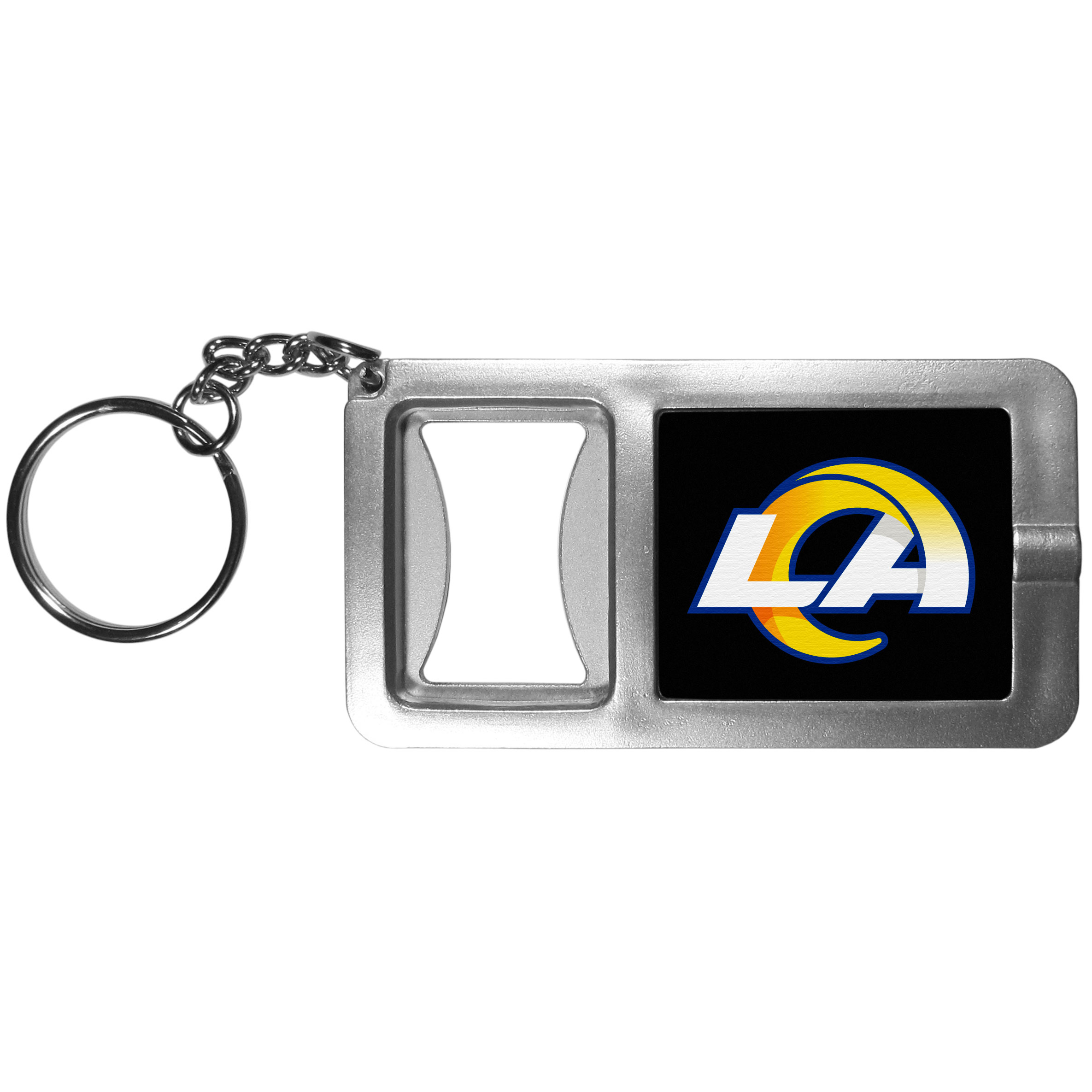 Los Angeles Rams Flashlight Key Chain with Bottle Opener - Never be without light with our Los Angeles Rams flashlight keychain that features a handy bottle opener feature. This versatile key chain is perfect for camping and travel and is a great way to show off your team pride!