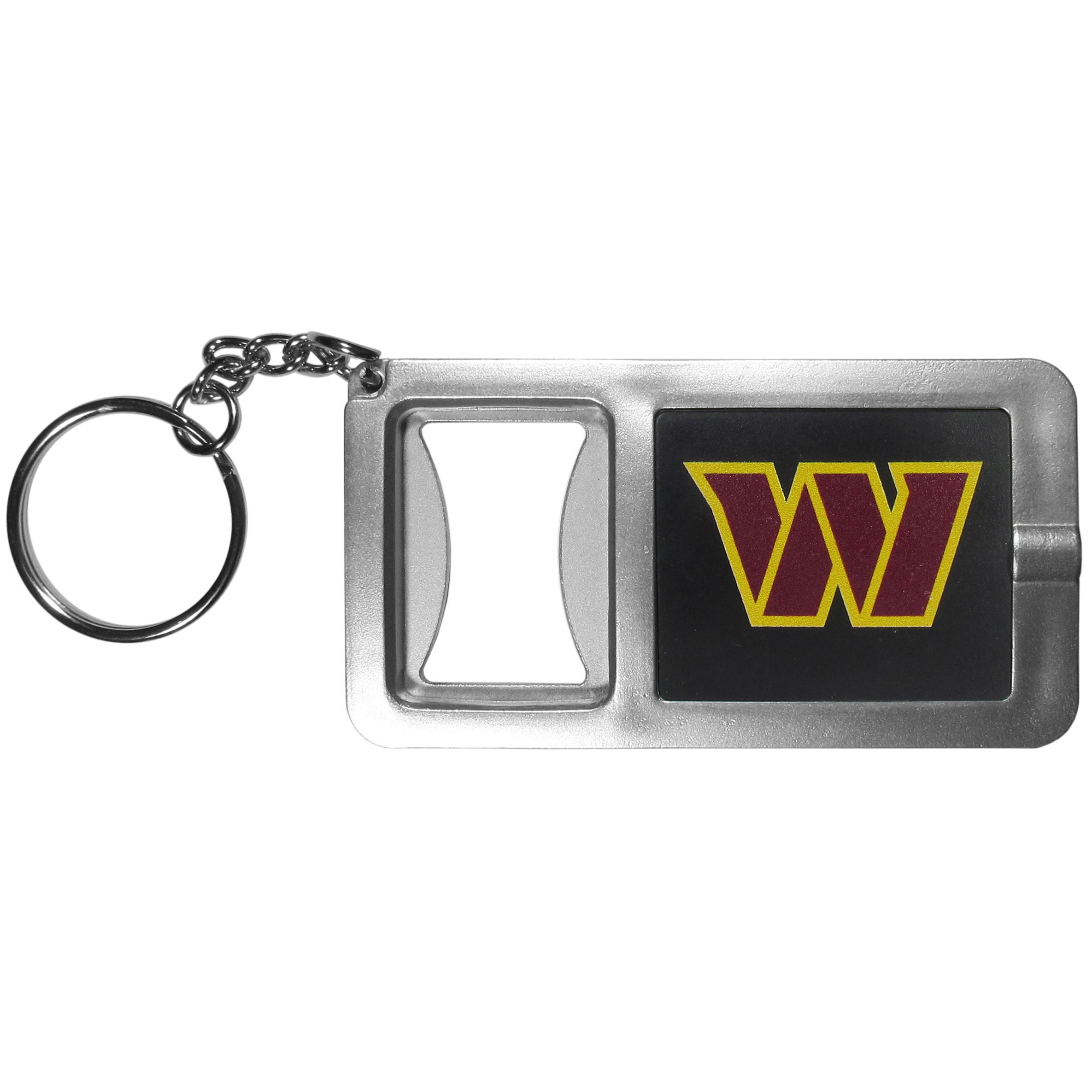 Washington Redskins Flashlight Key Chain with Bottle Opener - Never be without light with our Washington Redskins flashlight keychain that features a handy bottle opener feature. This versatile key chain is perfect for camping and travel and is a great way to show off your team pride!