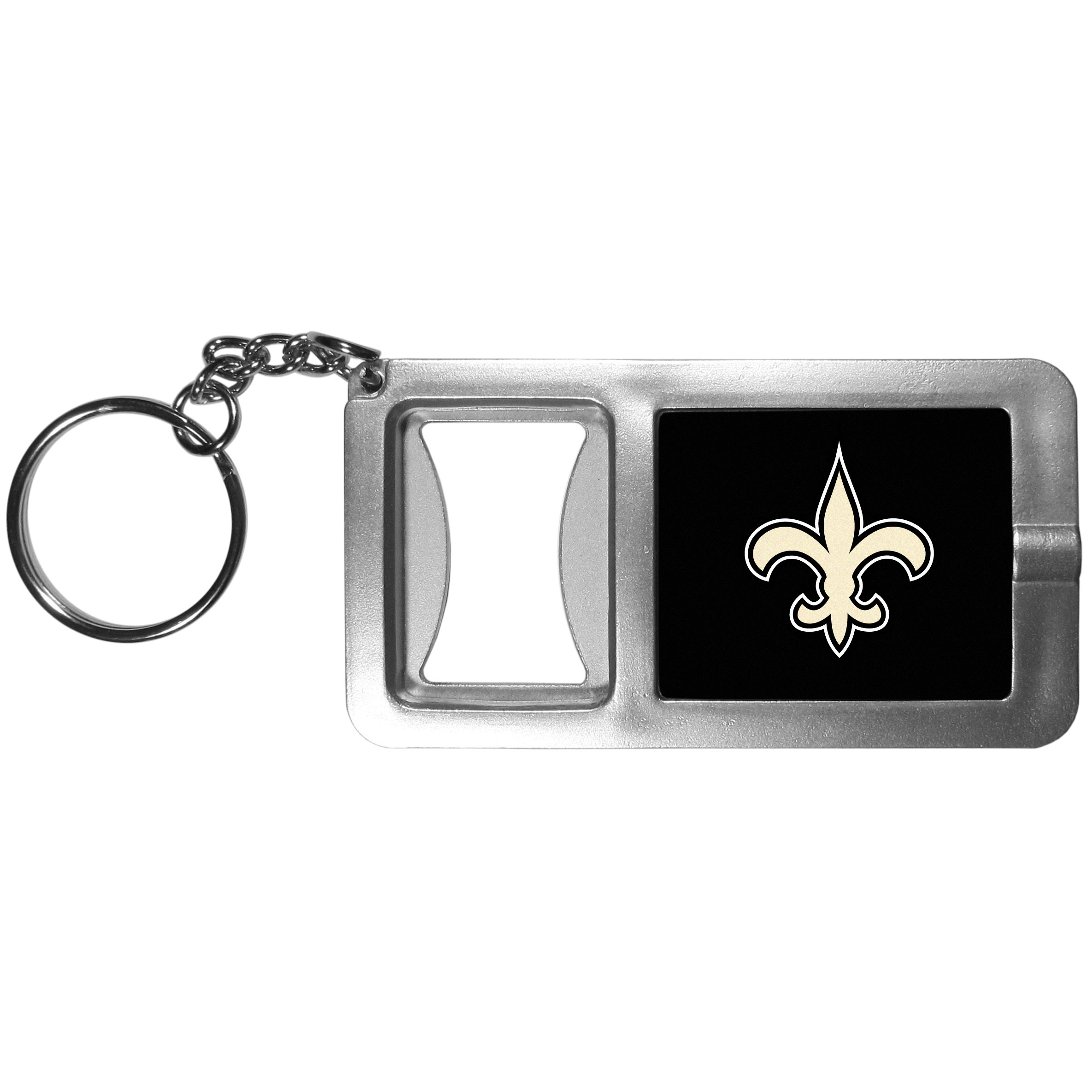 New Orleans Saints Flashlight Key Chain with Bottle Opener - Never be without light with our New Orleans Saints flashlight keychain that features a handy bottle opener feature. This versatile key chain is perfect for camping and travel and is a great way to show off your team pride!