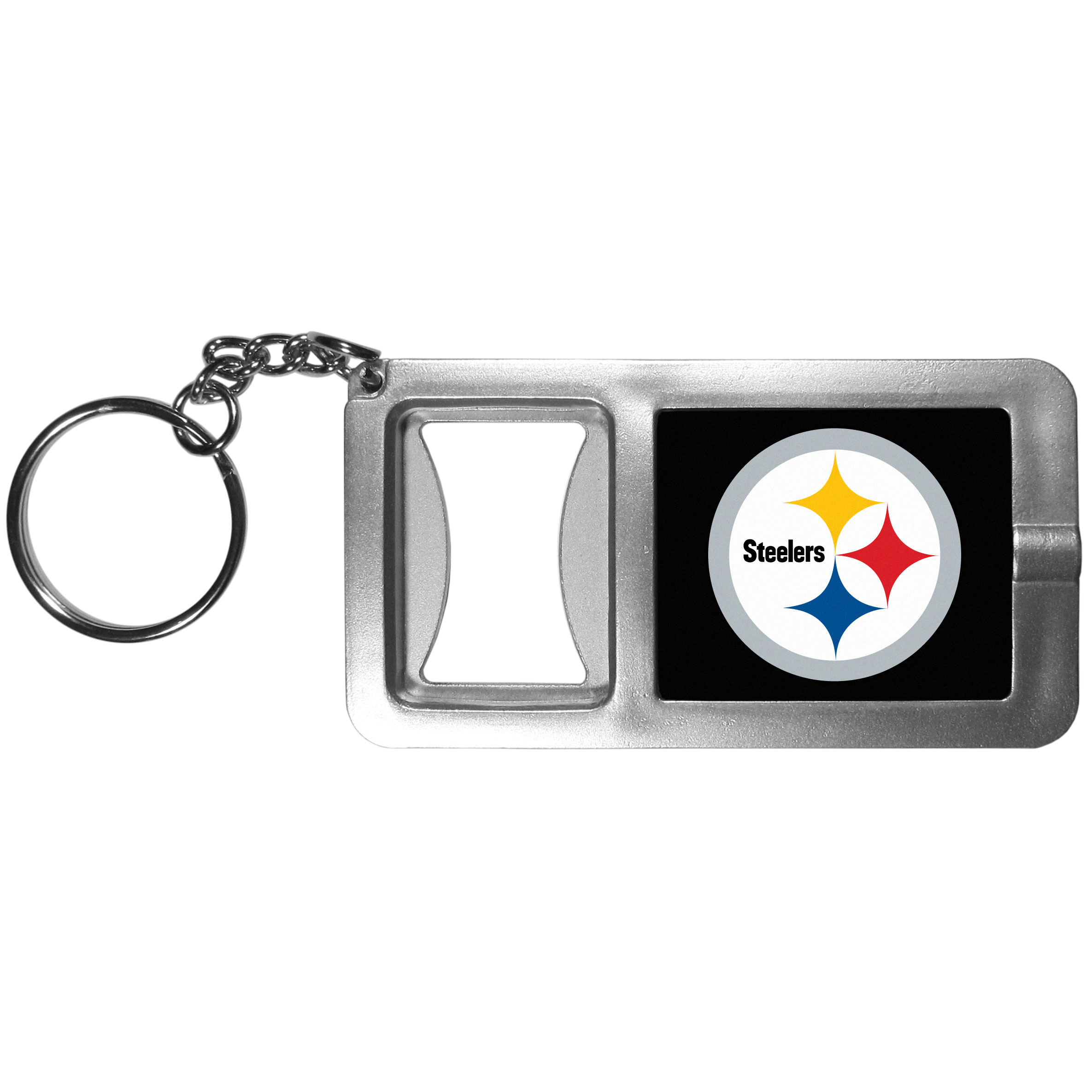 Pittsburgh Steelers Flashlight Key Chain with Bottle Opener - Never be without light with our Pittsburgh Steelers flashlight keychain that features a handy bottle opener feature. This versatile key chain is perfect for camping and travel and is a great way to show off your team pride!