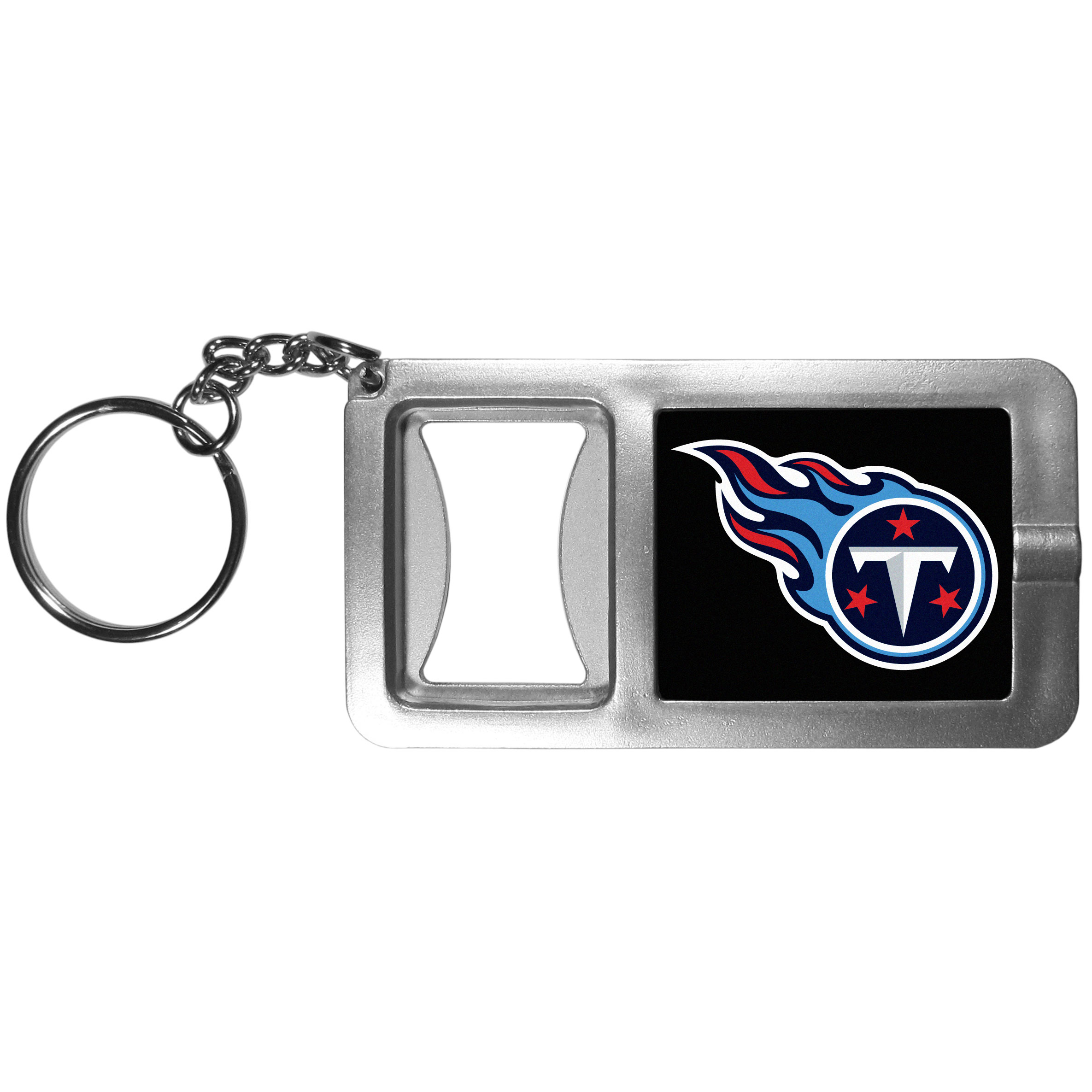 Tennessee Titans Flashlight Key Chain with Bottle Opener - Never be without light with our Tennessee Titans flashlight keychain that features a handy bottle opener feature. This versatile key chain is perfect for camping and travel and is a great way to show off your team pride!