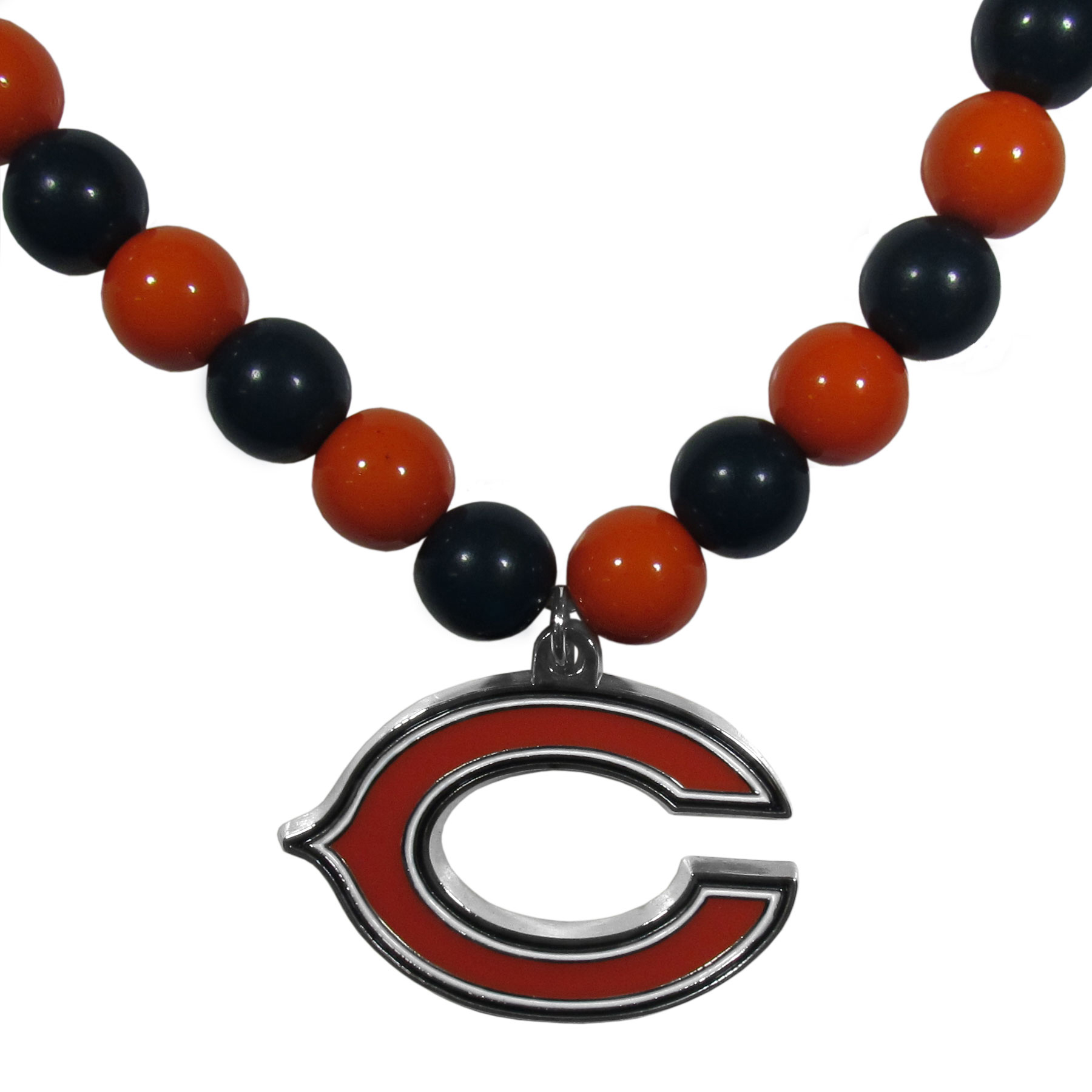 Chicago Bears Fan Bead Necklace - Make a big statement with our fan bead necklaces! These brightly colored necklace have a 24 inch string of alternating colored beads with an extra large, high-polish Chicago Bears pendant.