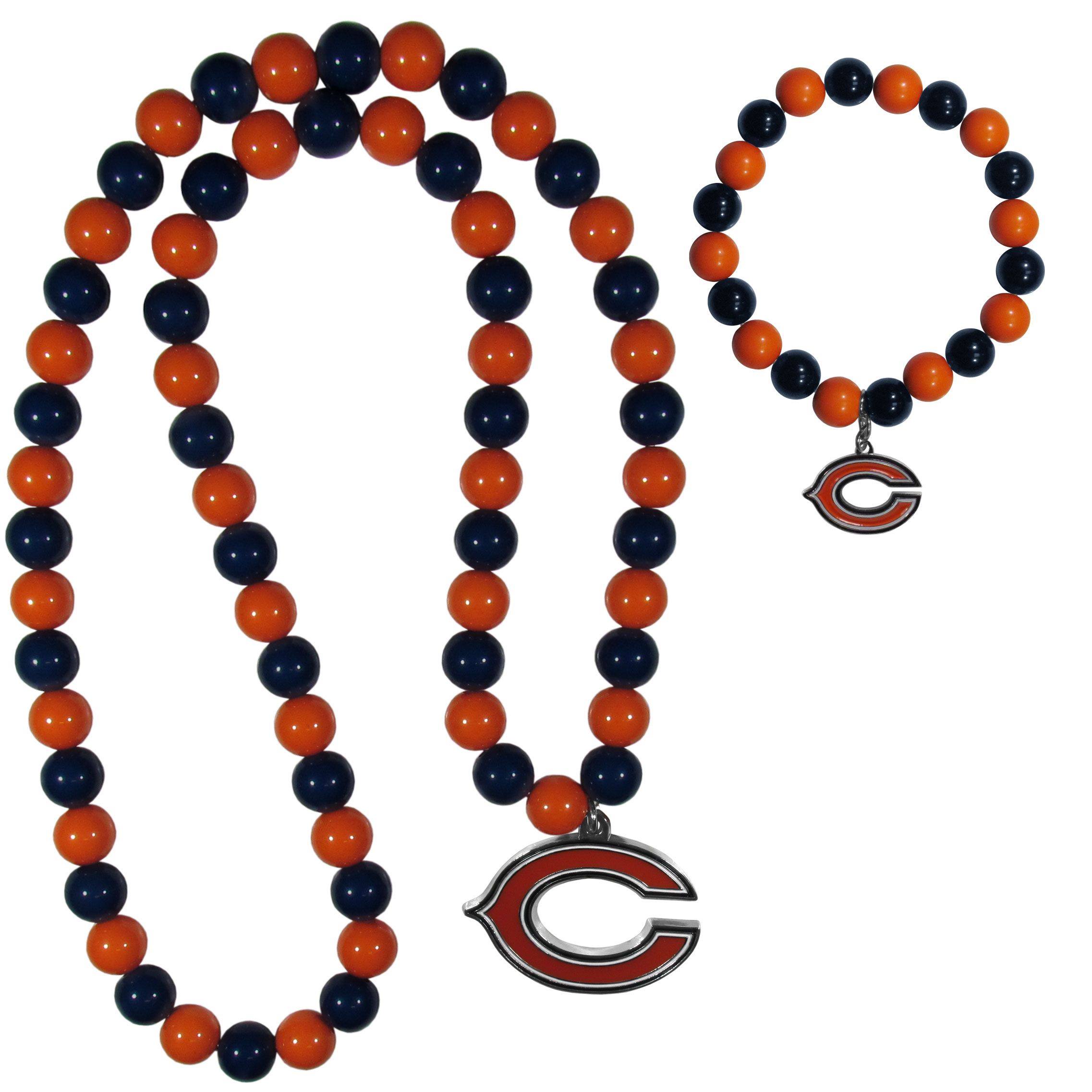 Chicago Bears Fan Bead Necklace and Bracelet Set - These fun and colorful Chicago Bears fan bead jewelry pieces are an eyecatching way to show off your team spirit. The striking necklace is a 24 inch string of alternating team colored beads with a large team pendant. The mathcing bracelet has alternating team colored beads on a stretch cord and features a matching team charm.