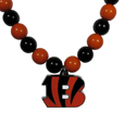Cincinnati Bengals Fan Bead Necklace - Make a big statement with our fan bead necklaces! These brightly colored necklace have a 24 inch string of alternating colored beads with an extra large, high-polish Cincinnati Bengals pendant.