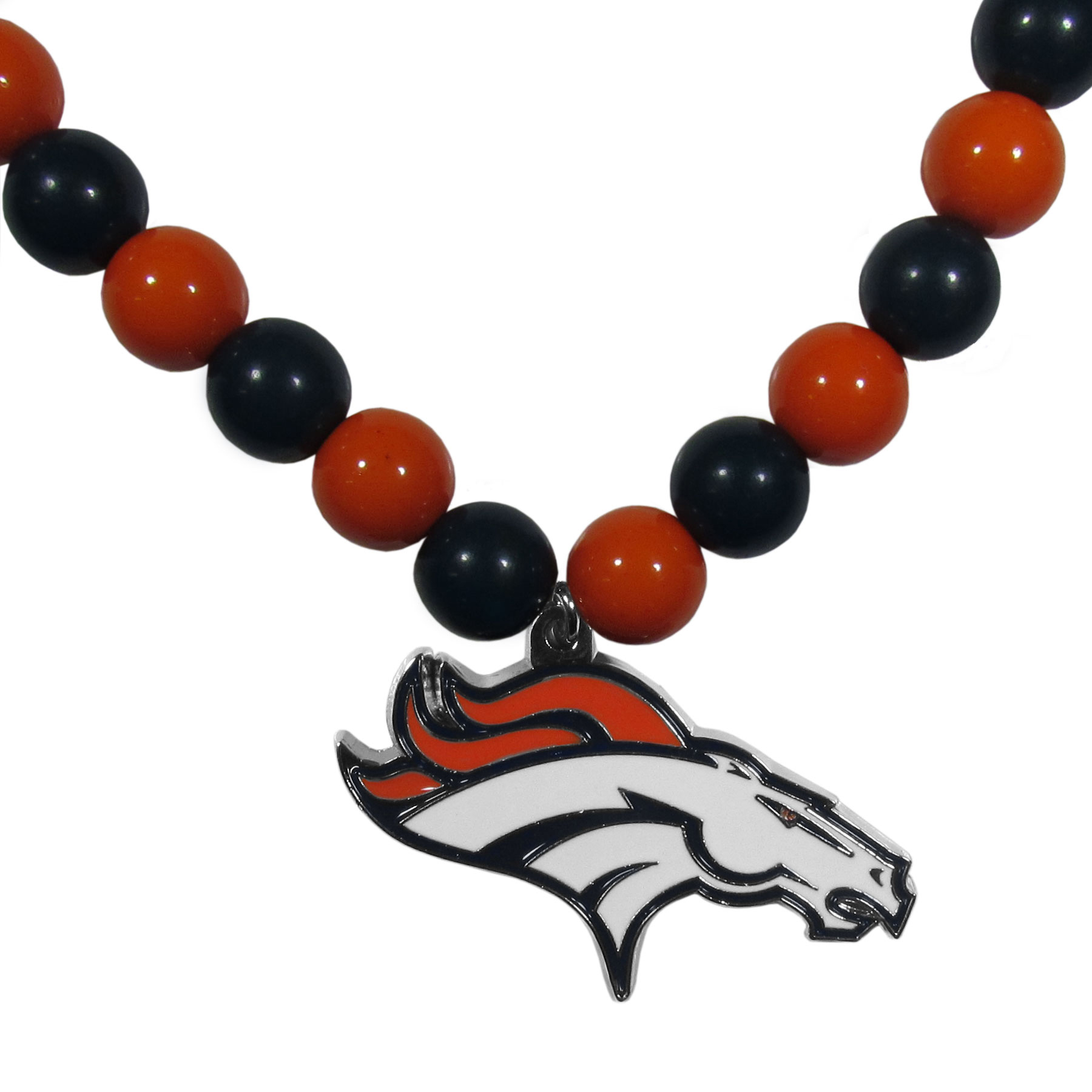 Denver Broncos Fan Bead Necklace - Make a big statement with our fan bead necklaces! These brightly colored necklace have a 24 inch string of alternating colored beads with an extra large, high-polish Denver Broncos pendant.