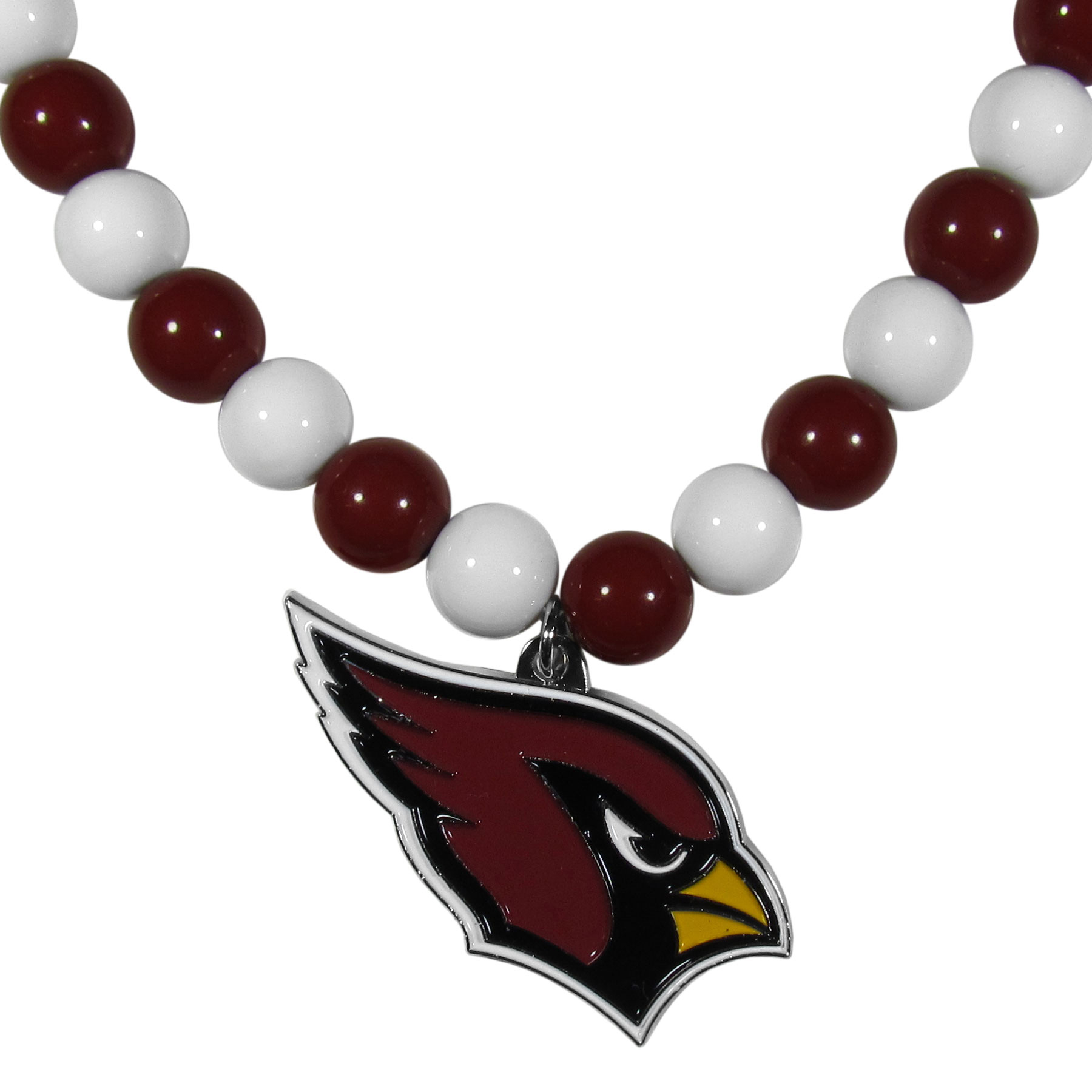Arizona Cardinals Fan Bead Necklace - Make a big statement with our fan bead necklaces! These brightly colored necklace have a 24 inch string of alternating colored beads with an extra large, high-polish Arizona Cardinals pendant.