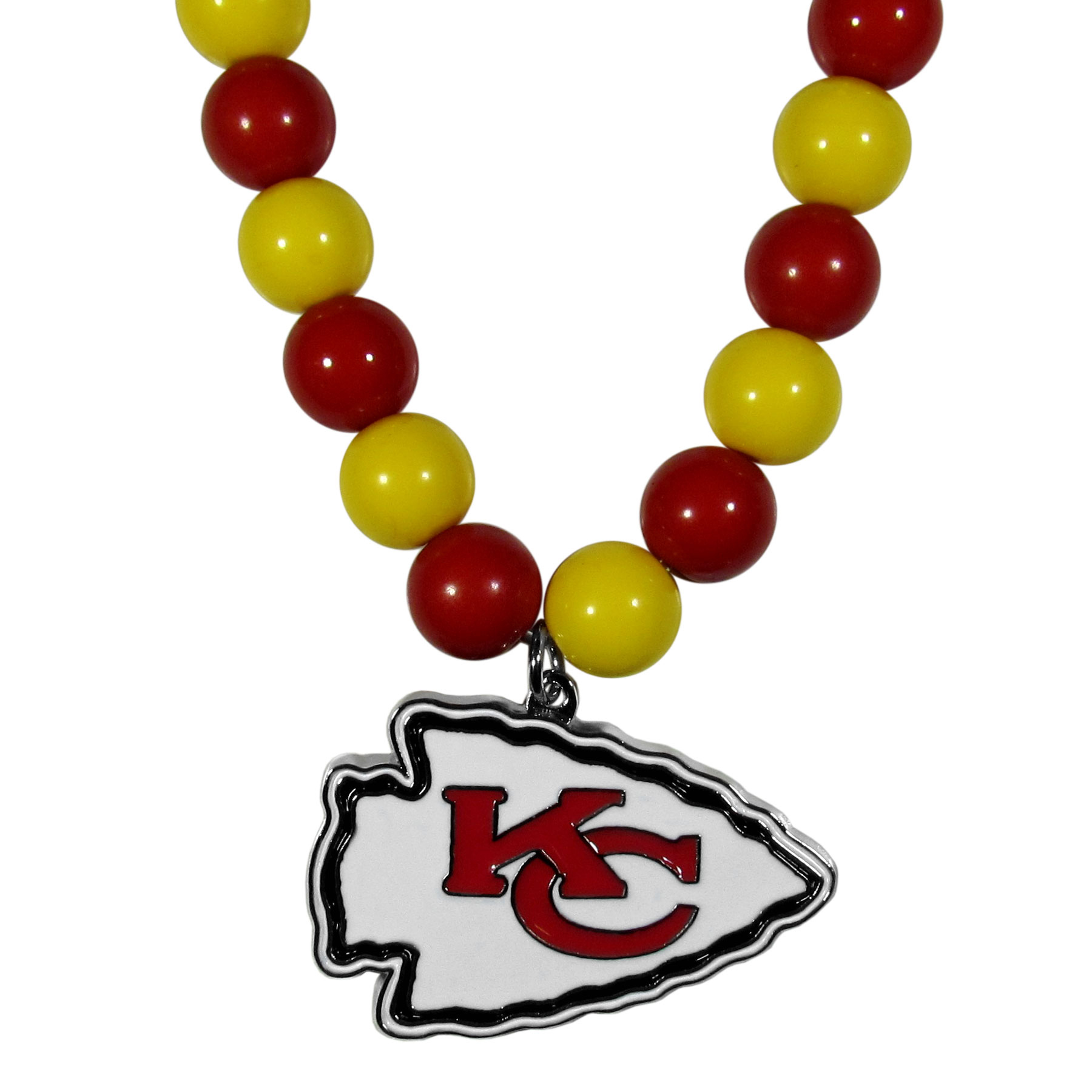 Kansas City Chiefs Fan Bead Necklace - Make a big statement with our bold fan bead necklaces! The 24 inch stretch string is beaded with 66 alternating color beads to make an eye-catching necklace that is finished with a high polish, large Kansas City Chiefs pendant with enameled team colors. This casual and fun piece is a game day must-have! Fans love the trendy style and sassy look of this popular fashion bead style that get noticed even in a sea of fans. A great gift idea for the fan in your life.