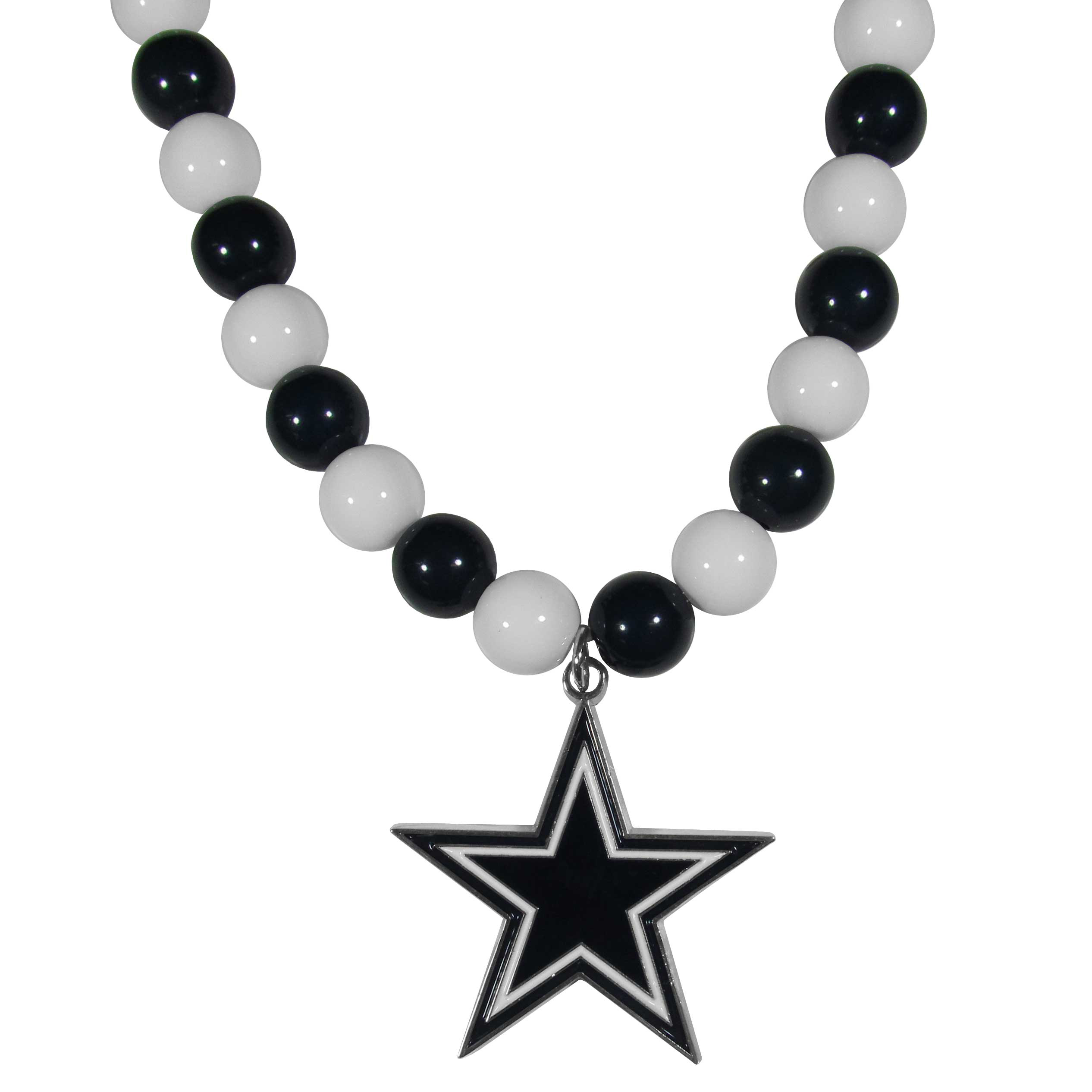 Dallas Cowboys Fan Bead Necklace - Make a big statement with our fan bead necklaces! These brightly colored necklace have a 24 inch string of alternating colored beads with an extra large, high-polish Dallas Cowboys pendant.