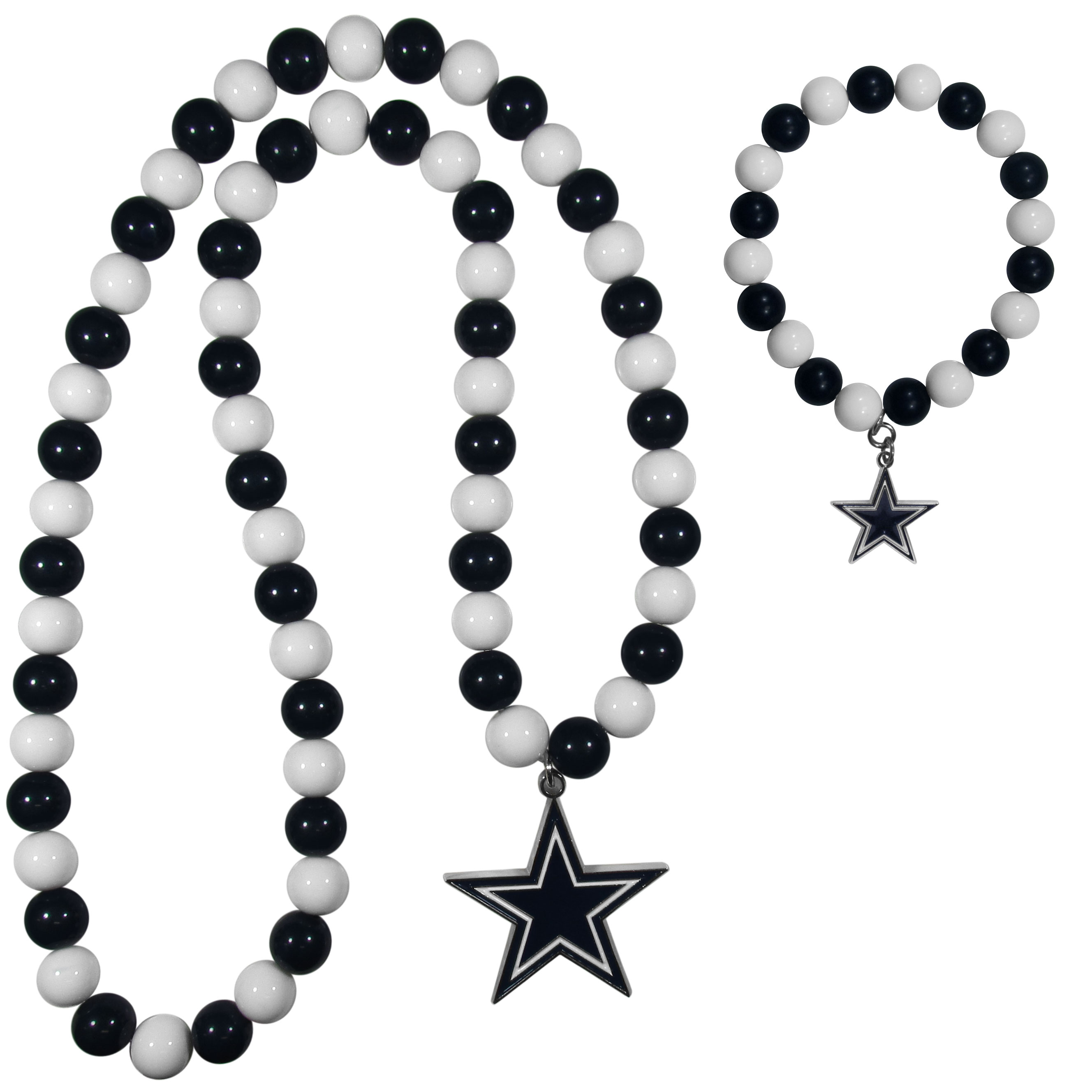Dallas Cowboys Fan Bead Necklace and Bracelet Set - These fun and colorful Dallas Cowboys fan bead jewelry pieces are an eyecatching way to show off your team spirit. The striking necklace is a 24 inch string of alternating team colored beads with a large team pendant. The mathcing bracelet has alternating team colored beads on a stretch cord and features a matching team charm.