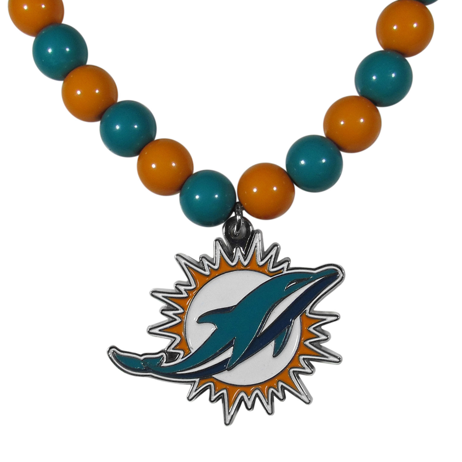 Miami Dolphins Fan Bead Necklace - Make a big statement with our fan bead necklaces! These brightly colored necklace have a 24 inch string of alternating colored beads with an extra large, high-polish Miami Dolphins pendant.