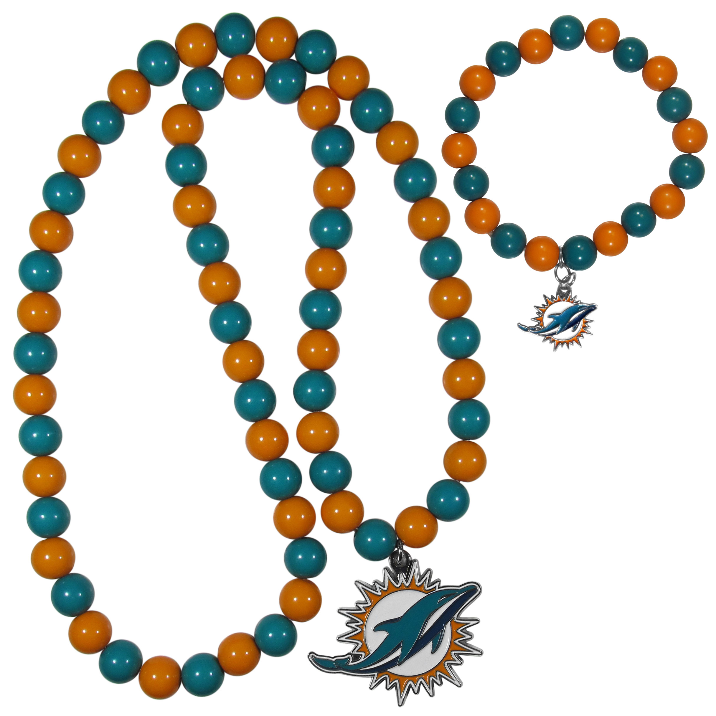 Miami Dolphins Fan Bead Necklace and Bracelet Set - These fun and colorful Miami Dolphins fan bead jewelry pieces are an eyecatching way to show off your team spirit. The striking necklace is a 24 inch string of alternating team colored beads with a large team pendant. The mathcing bracelet has alternating team colored beads on a stretch cord and features a matching team charm.
