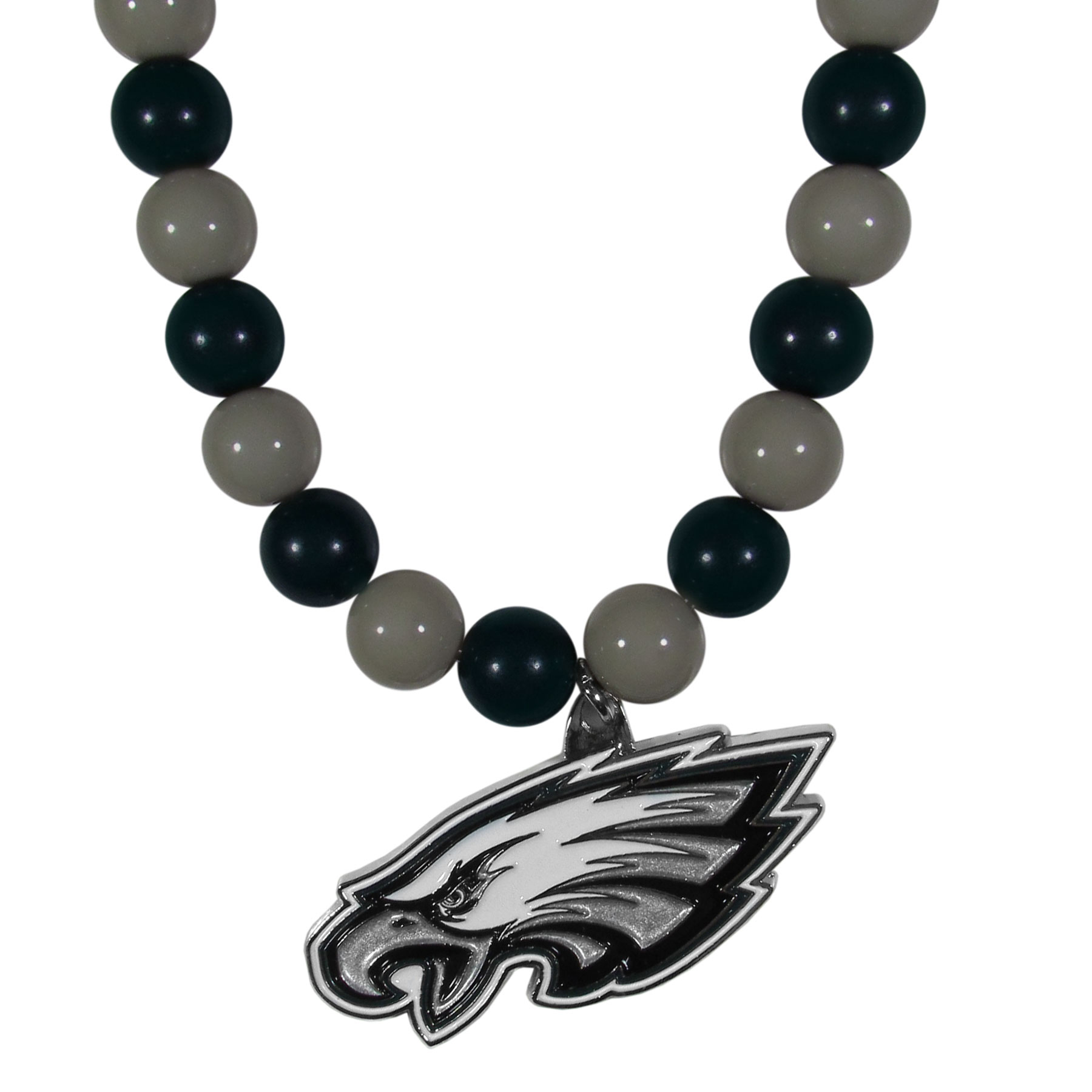 Philadelphia Eagles Fan Bead Necklace - Make a big statement with our fan bead necklaces! These brightly colored necklace have a 24 inch string of alternating colored beads with an extra large, high-polish Philadelphia Eagles pendant.