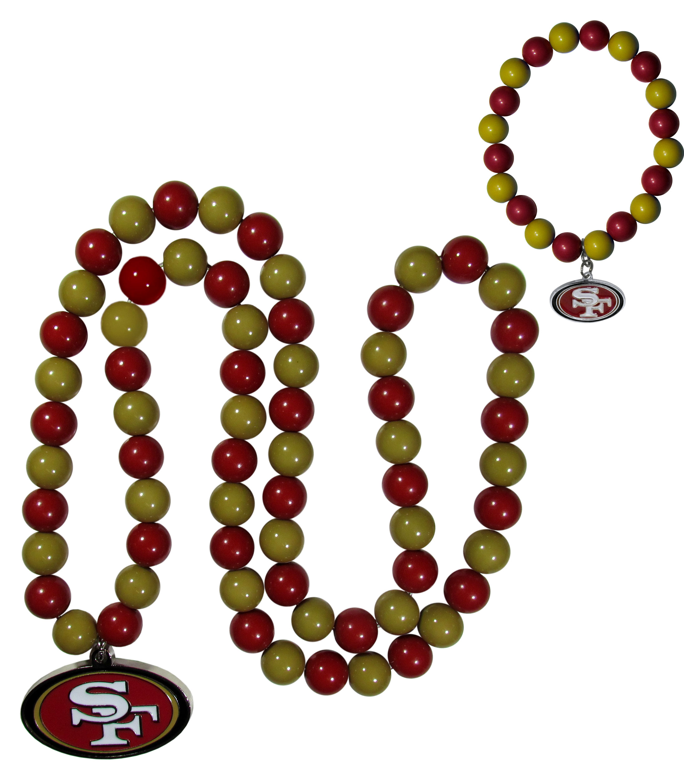 San Francisco 49ers Fan Bead Necklace and Bracelet Set - These fun and colorful San Francisco 49ers fan bead jewelry pieces are an eyecatching way to show off your team spirit. The striking necklace is a 24 inch string of alternating team colored beads with a large team pendant. The mathcing bracelet has alternating team colored beads on a stretch cord and features a matching team charm.