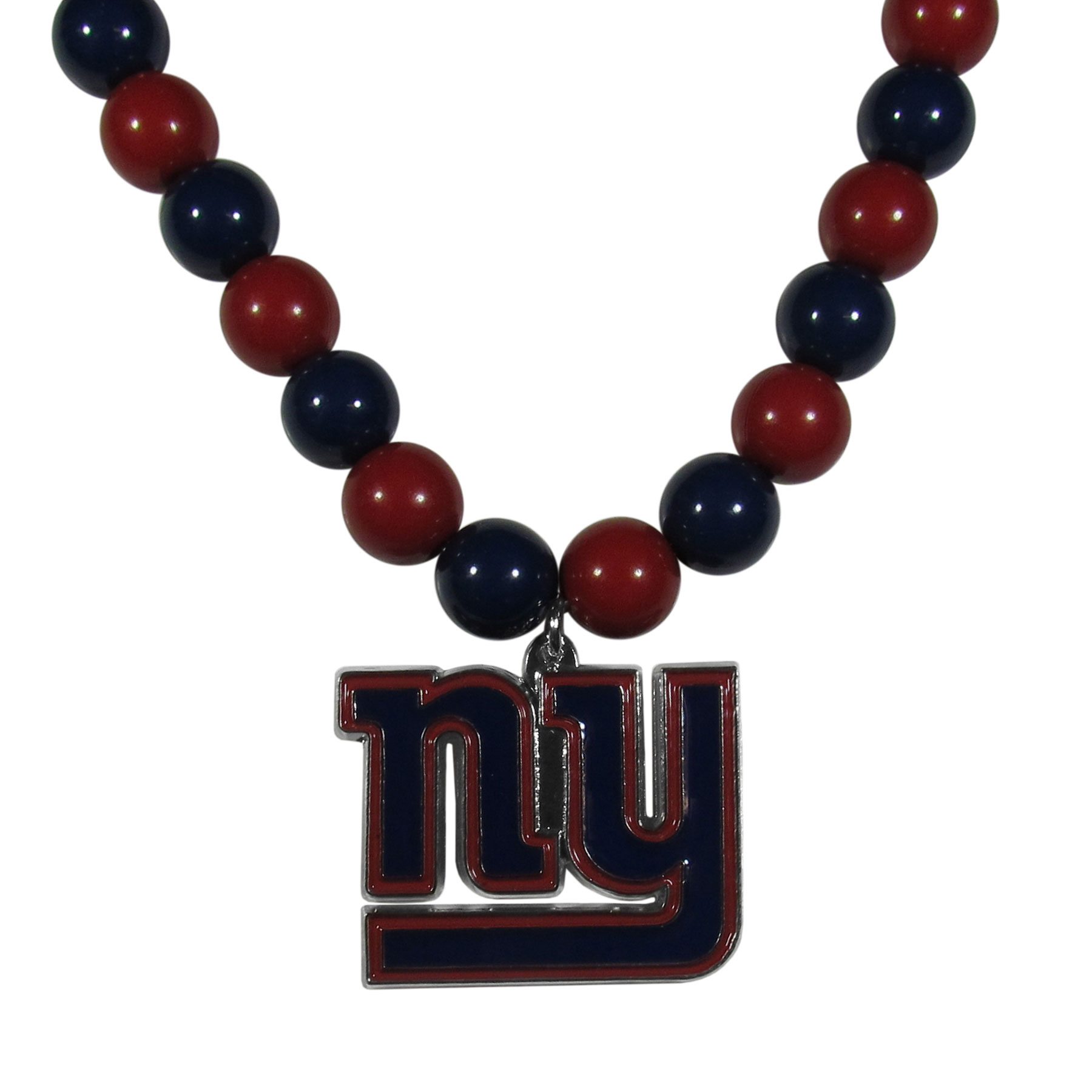 New York Giants Fan Bead Necklace - Make a big statement with our fan bead necklaces! These brightly colored necklace have a 24 inch string of alternating colored beads with an extra large, high-polish New York Giants pendant.