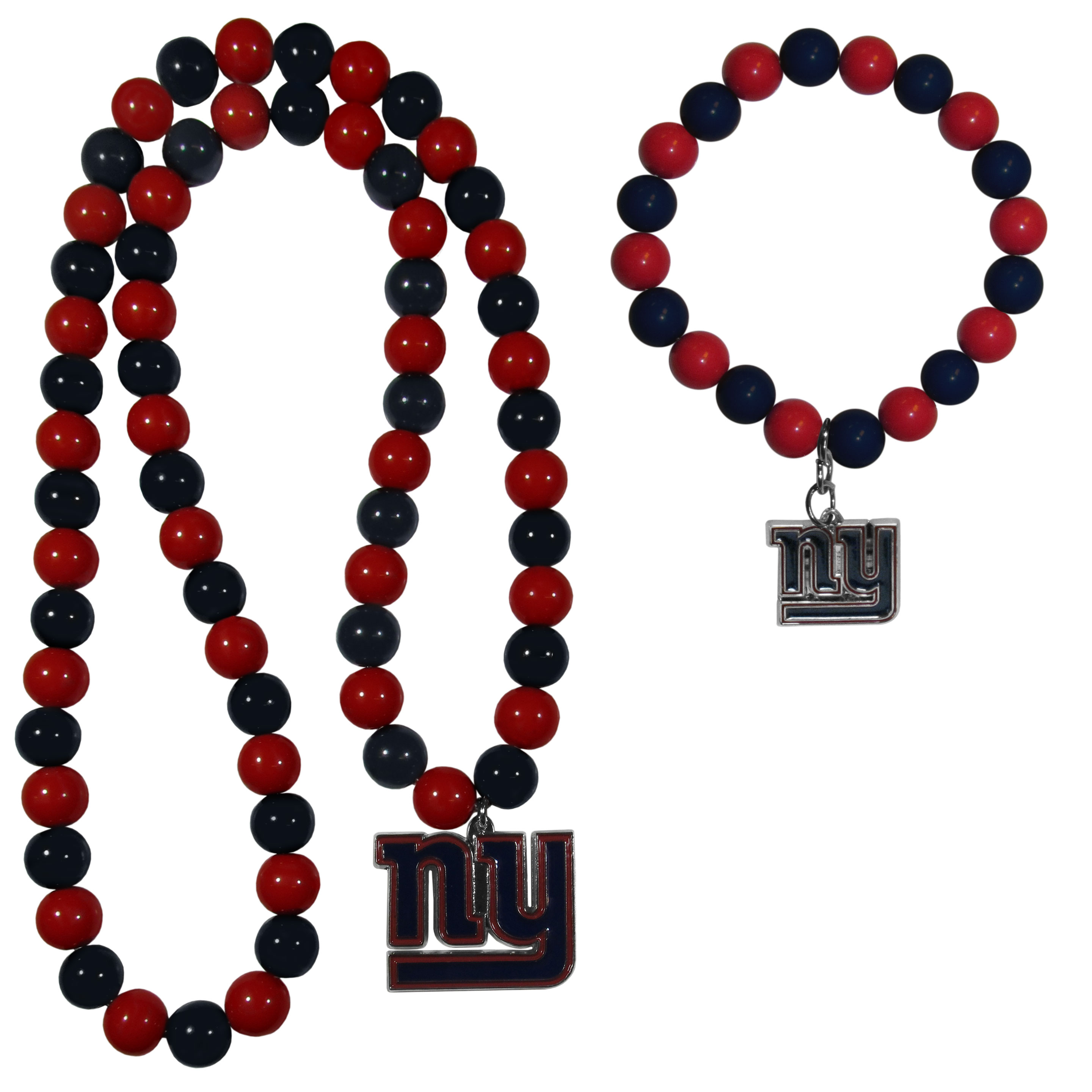 New York Giants Fan Bead Necklace and Bracelet Set - These fun and colorful New York Giants fan bead jewelry pieces are an eyecatching way to show off your team spirit. The striking necklace is a 24 inch string of alternating team colored beads with a large team pendant. The mathcing bracelet has alternating team colored beads on a stretch cord and features a matching team charm.
