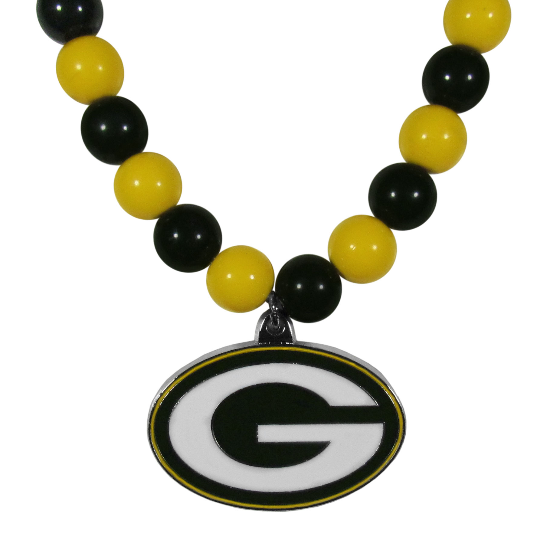 Green Bay Packers Fan Bead Necklace - Make a big statement with our fan bead necklaces! These brightly colored necklace have a 24 inch string of alternating colored beads with an extra large, high-polish Green Bay Packers pendant.